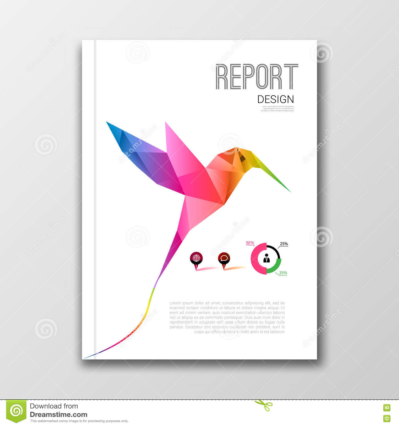 Book Cover Design Of Birds : Book cover print template with abstract shapes cartoon
