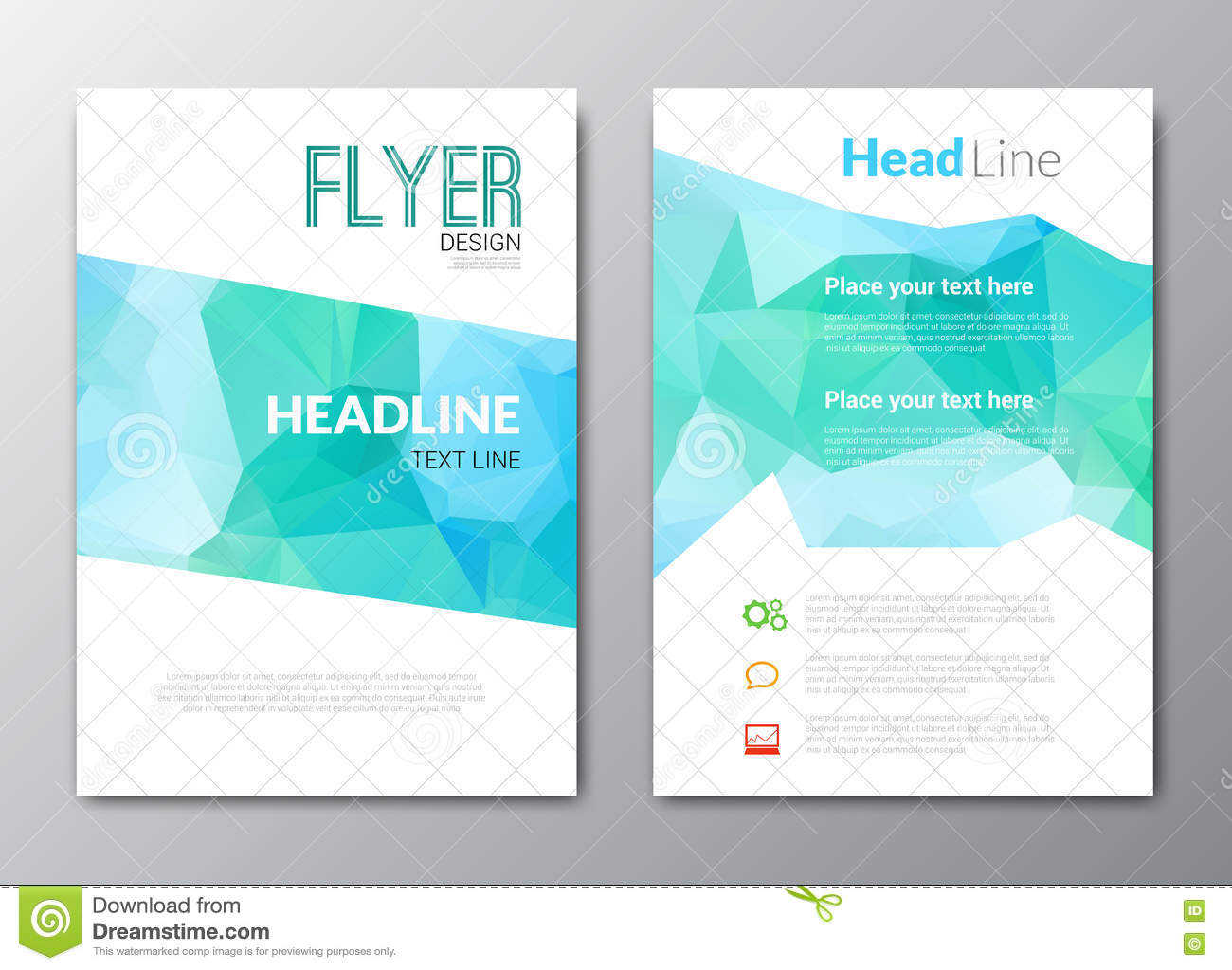 Business Design Template. Cover Brochure Book Flyer Magazine Layout Mockup  Geometric Triangle Polygonal Shapes Info
