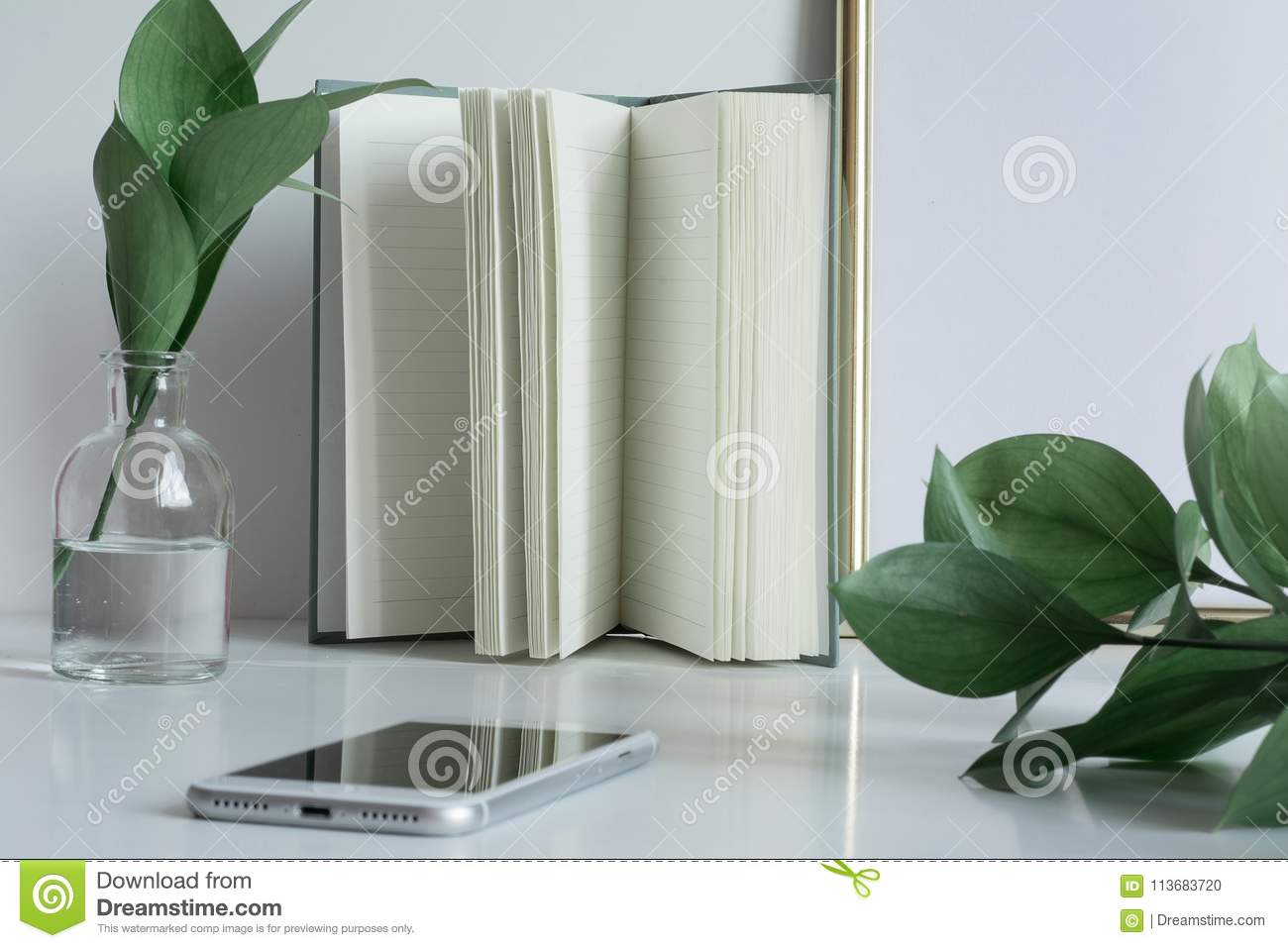 Business Desktop With Notebook Pages Vase Phone Stock Photo Image