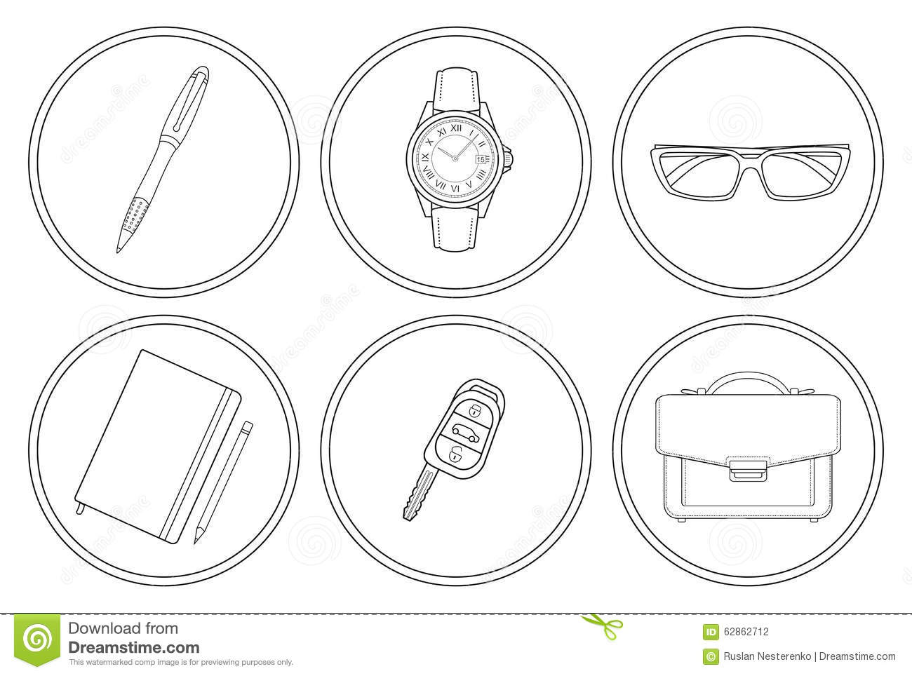 Notebook And Pen Sketch Stock Vector Art More Images Of: Business Detailed Linear Icons Set Stock Vector