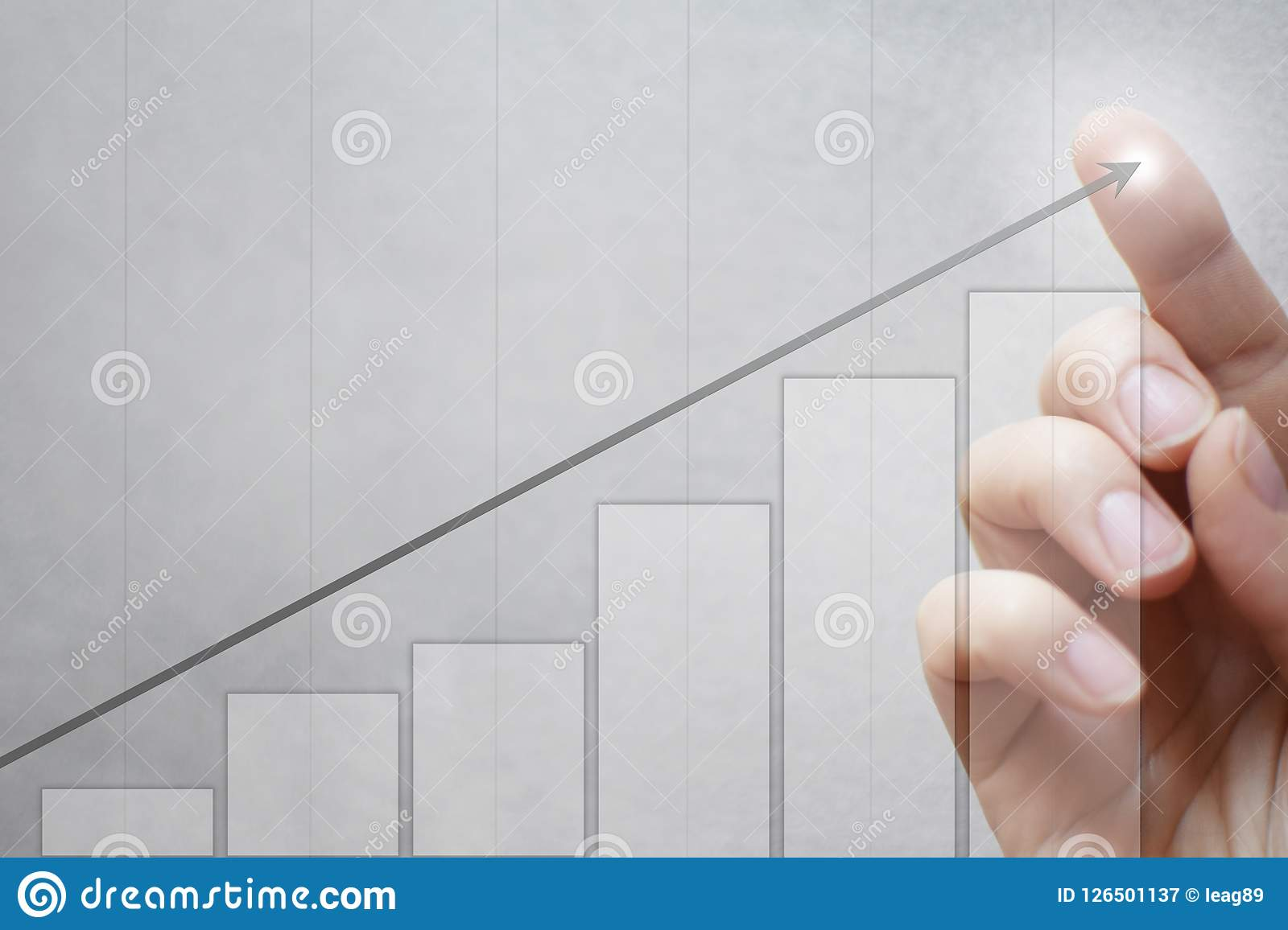 Finger Touching Arrow Graph Stock Image Of Profit Diagram Download 126501137