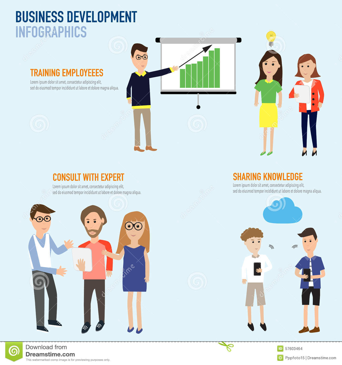 Business Development Infographics With Training Employee ...