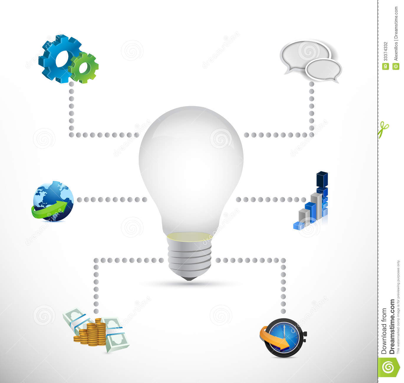 Business Diagram Ideas Illustration Design Stock Of Incandescent Light Bulb
