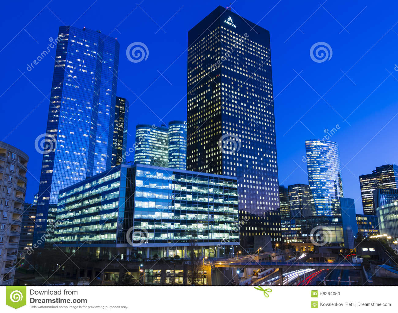 the business district la defense at night editorial stock photo image 66264053. Black Bedroom Furniture Sets. Home Design Ideas