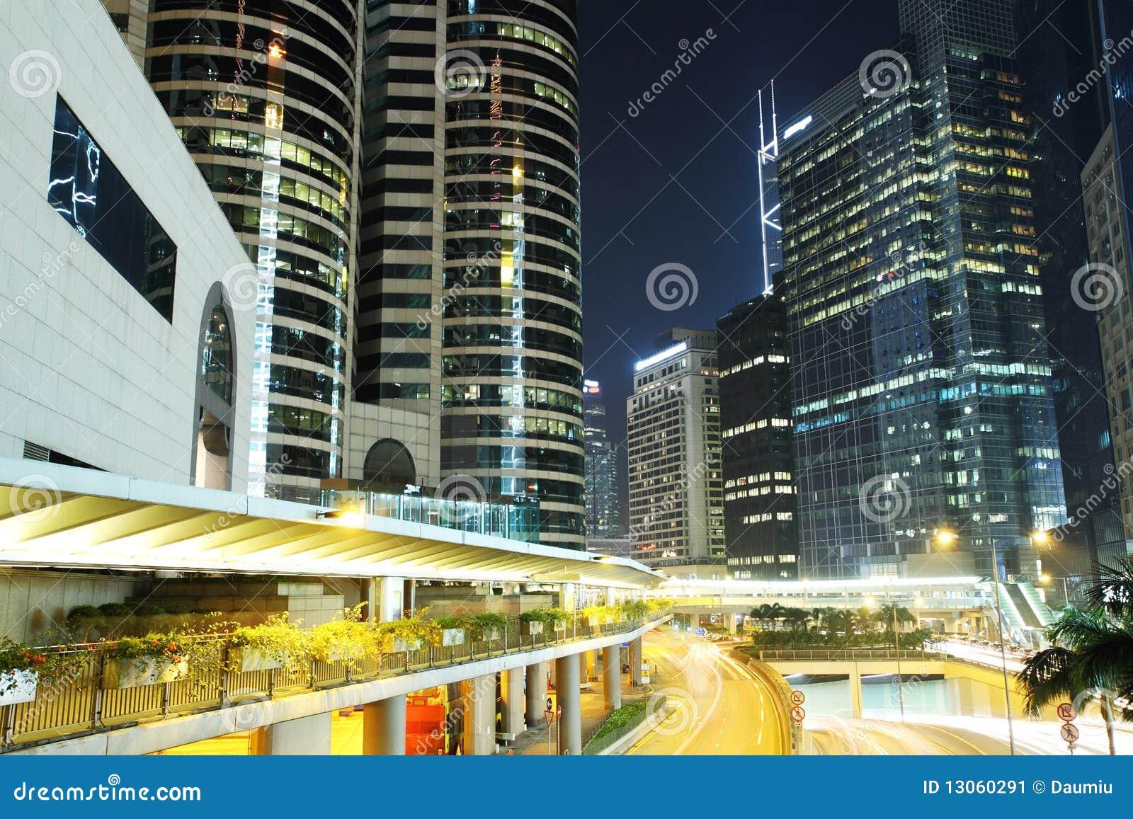 Business District At Night. Hong Kong. Stock Image - Image ...