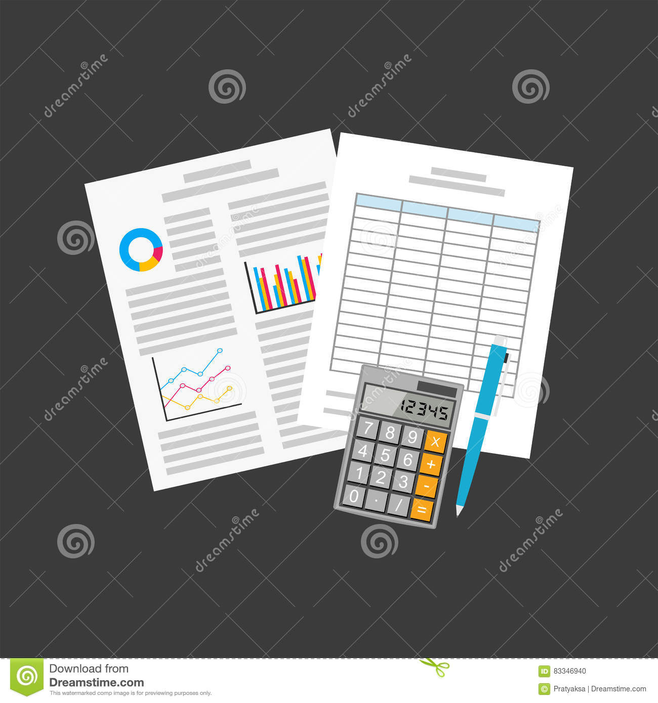 business document spreadsheets business equipment stock vector