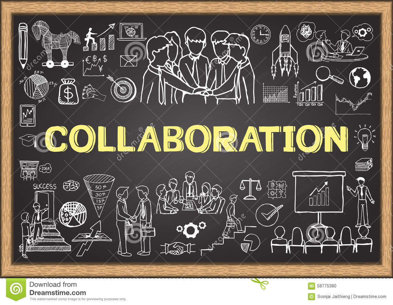 Collaborative Teaching Concepts : Business doodles on chalkboard with the concept of