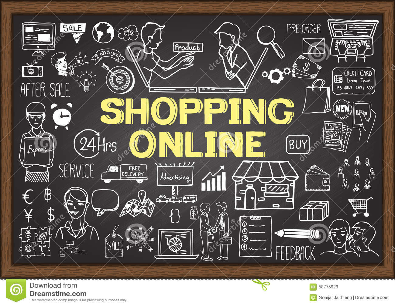 Business Market Shopping Doodles In Chalkboard Stock Photo - Image ...