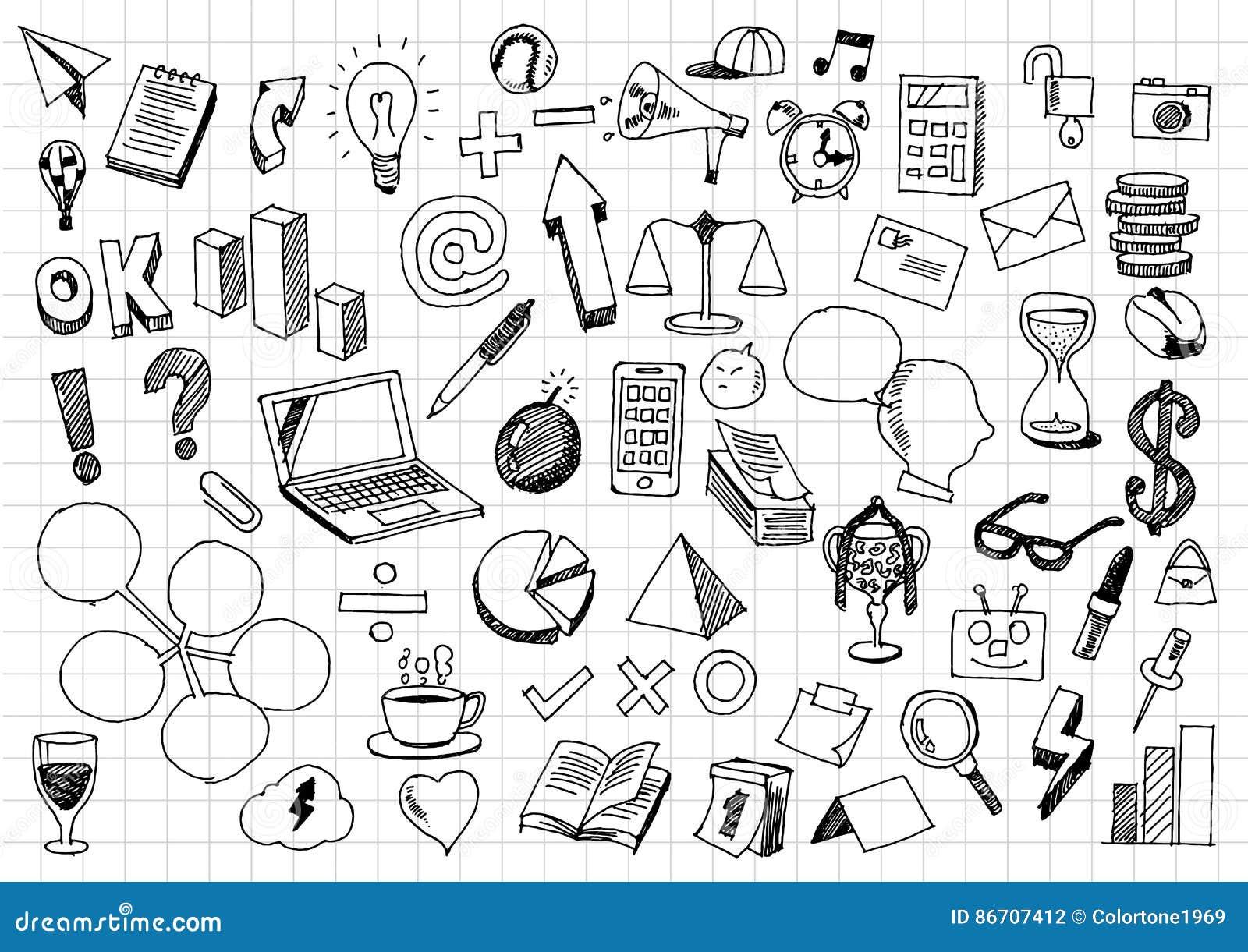 business doodles various sketch business graffiti stock vector