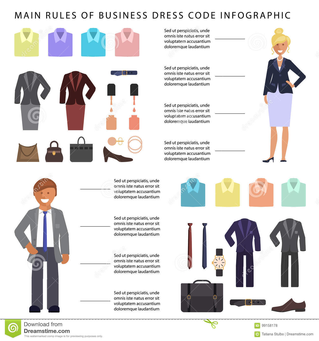 31de393d4acc Business dress code infographic. People in formal clothes and shoes.  Official suits for Man and woman isolated on white background. Vector  illustration eps ...