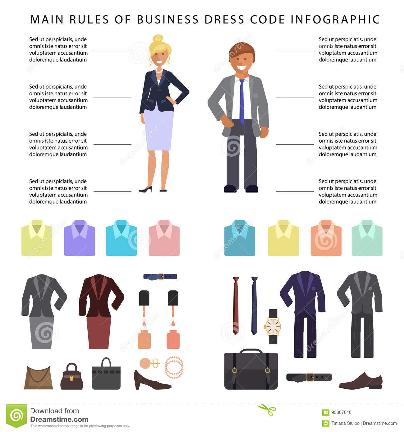 Business dress code infographics. People in formal clothes and shoes.  Official suits for Man and woman isolated on white background. Vector  illustration eps ... 03baf1d4d