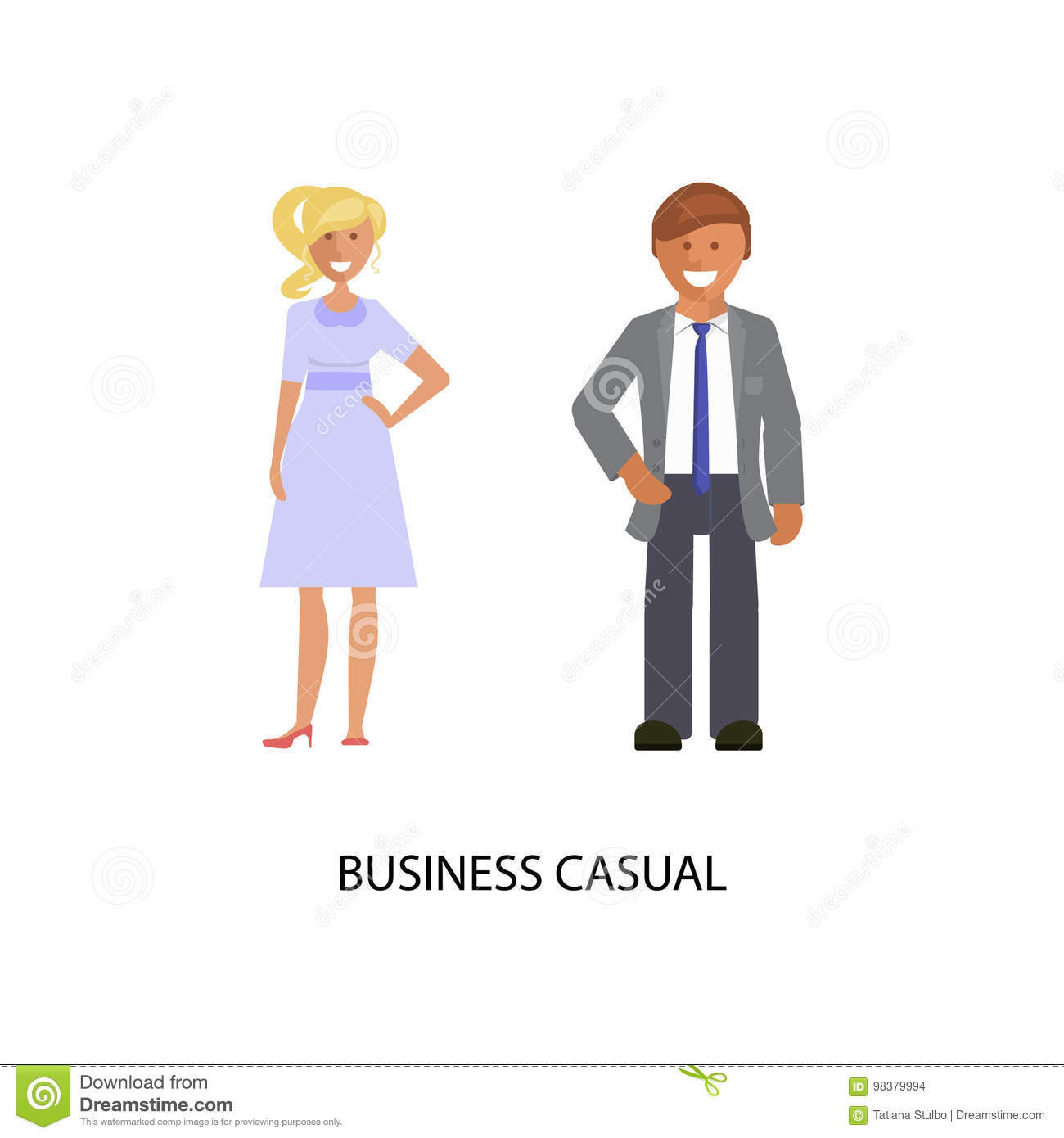 c1904290953c Business dress code. Man and woman in business casual style suits on white  background. Vector illustration of people in formal clothes.r