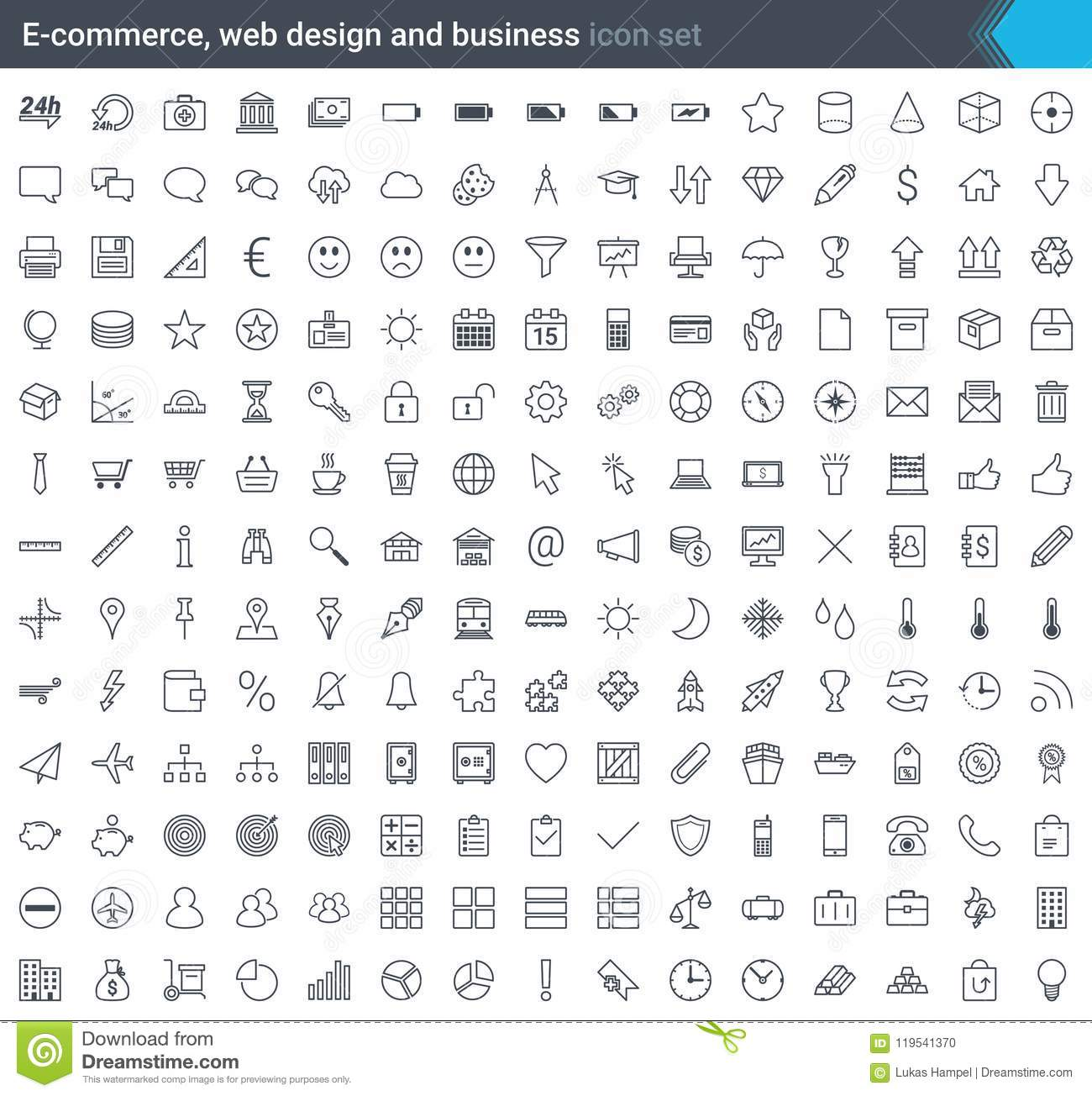 Business, e-commerce, web and shopping icons set in modern style isolated on white background. Stroke icons.