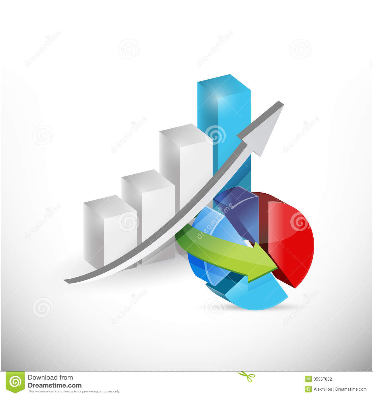 Business Economy Graph And Pie Chart Concept Stock