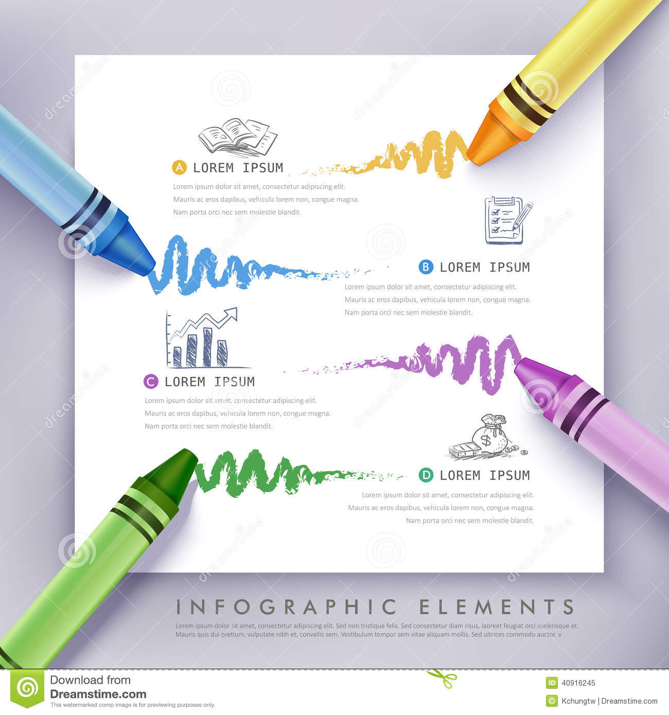 Creative infographics template with pencil, puzzle and education icons ...