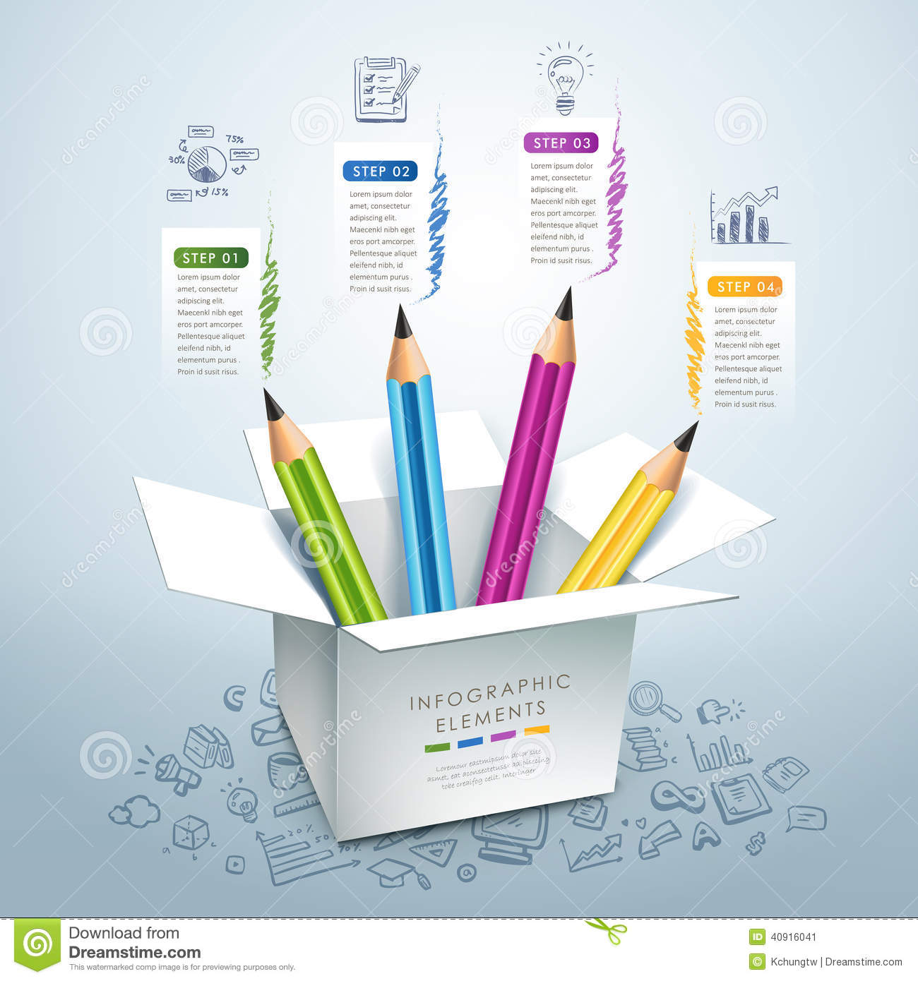 Business Education Pencil Infographics Stock Vector