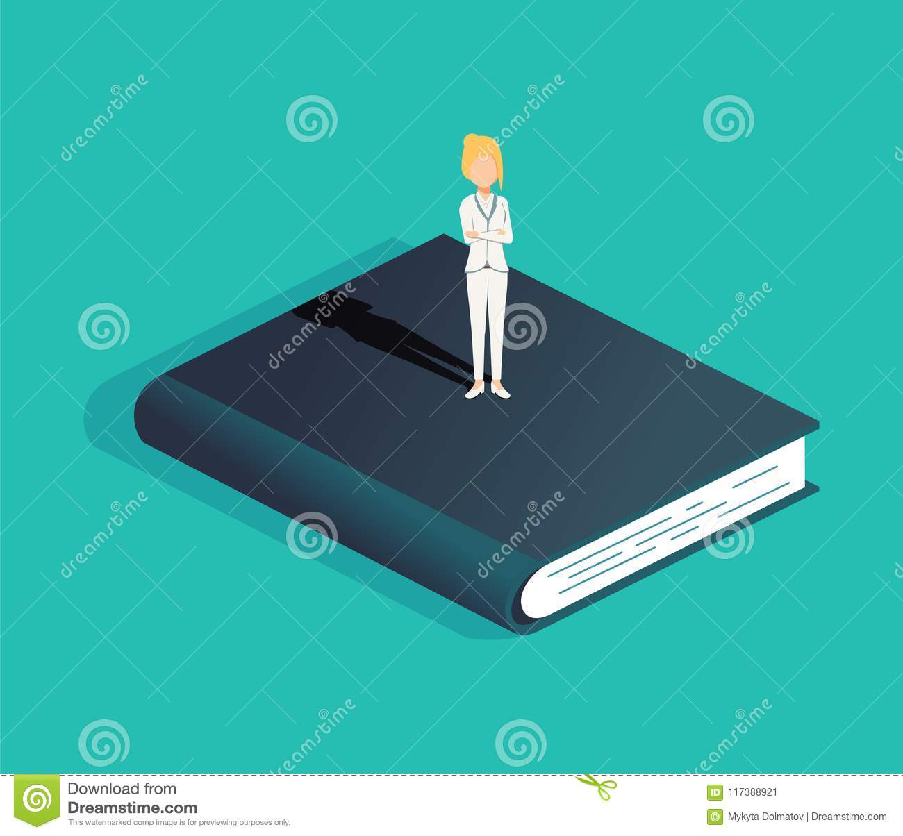 Business and education vector concept with business woman standing on a book. Symbol of career opportunity