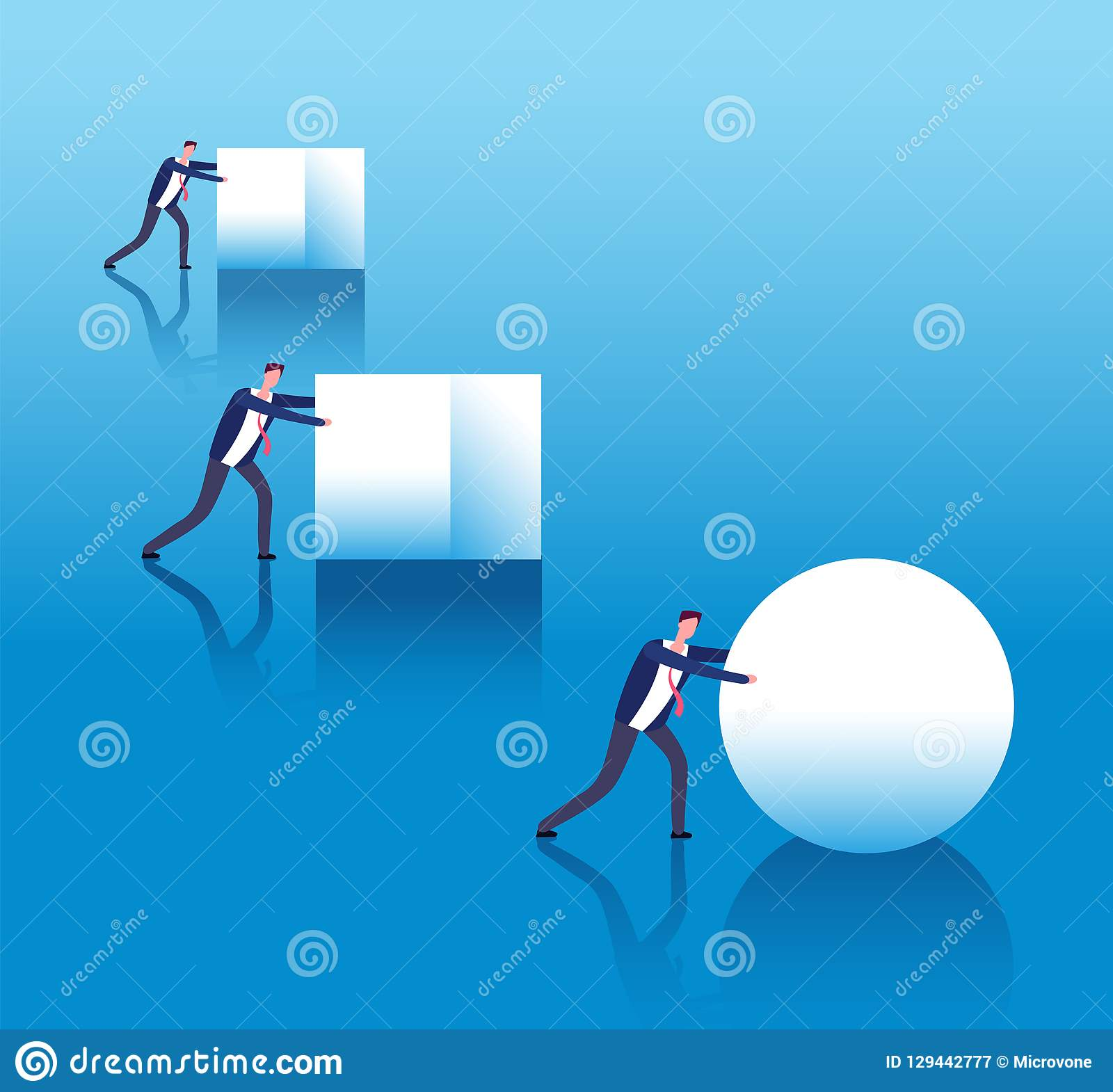 Business efficient concept. Businessmen push boxes and smart leader rolls ball. Business innovation and strategy