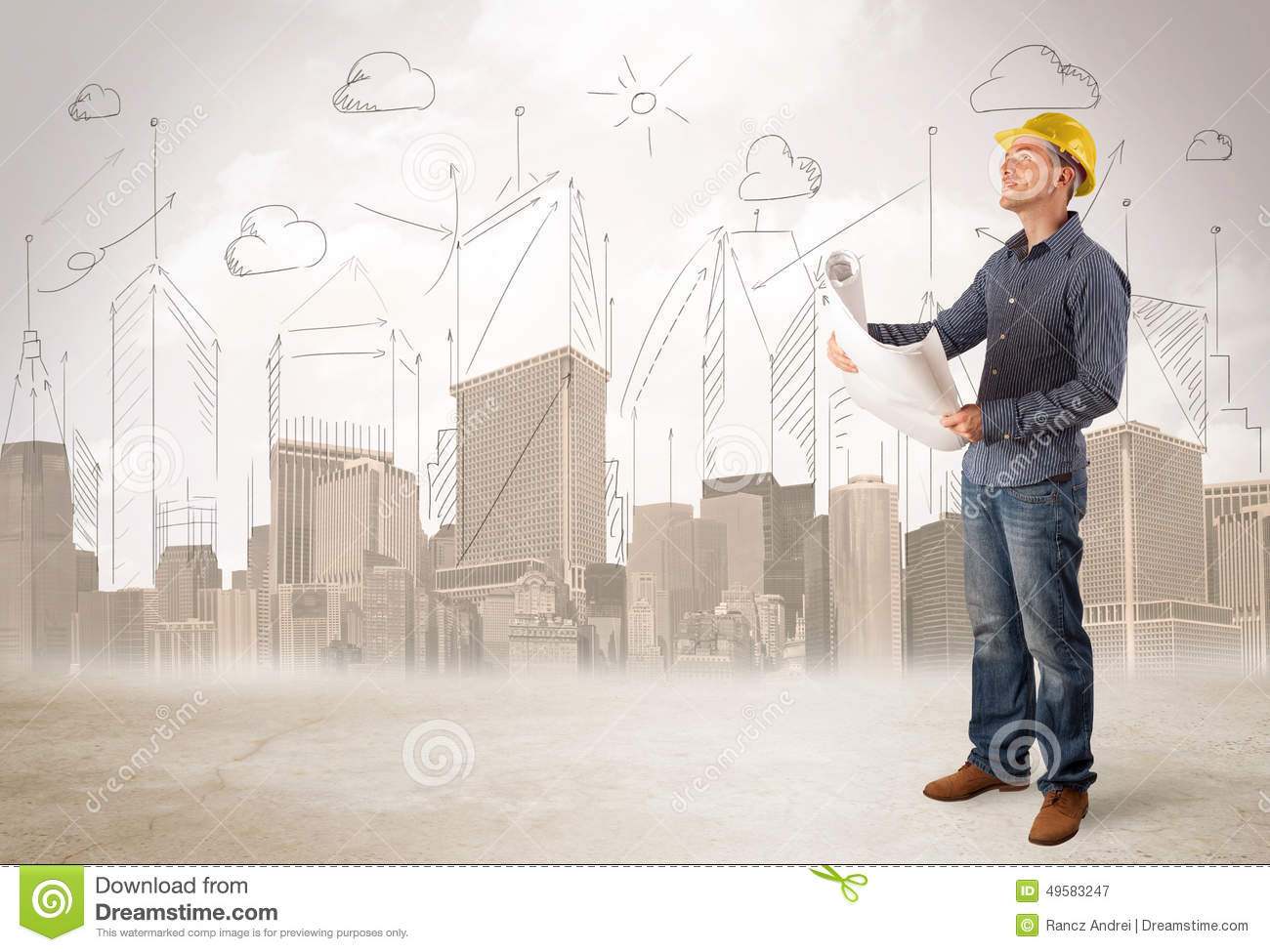 Business engineer planing at construction site with city background
