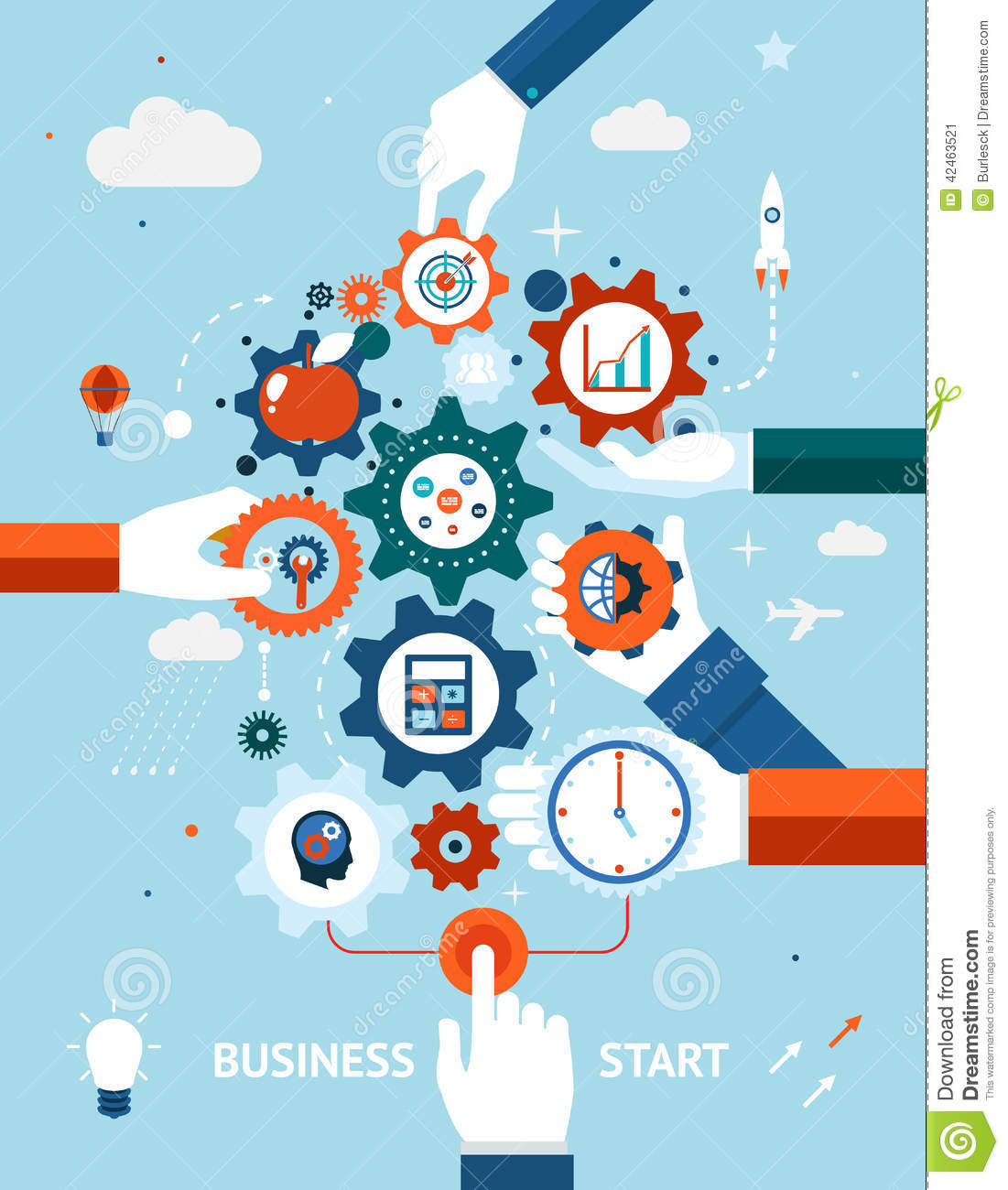 Business And Entrepreneurship Business Start Stock Vector