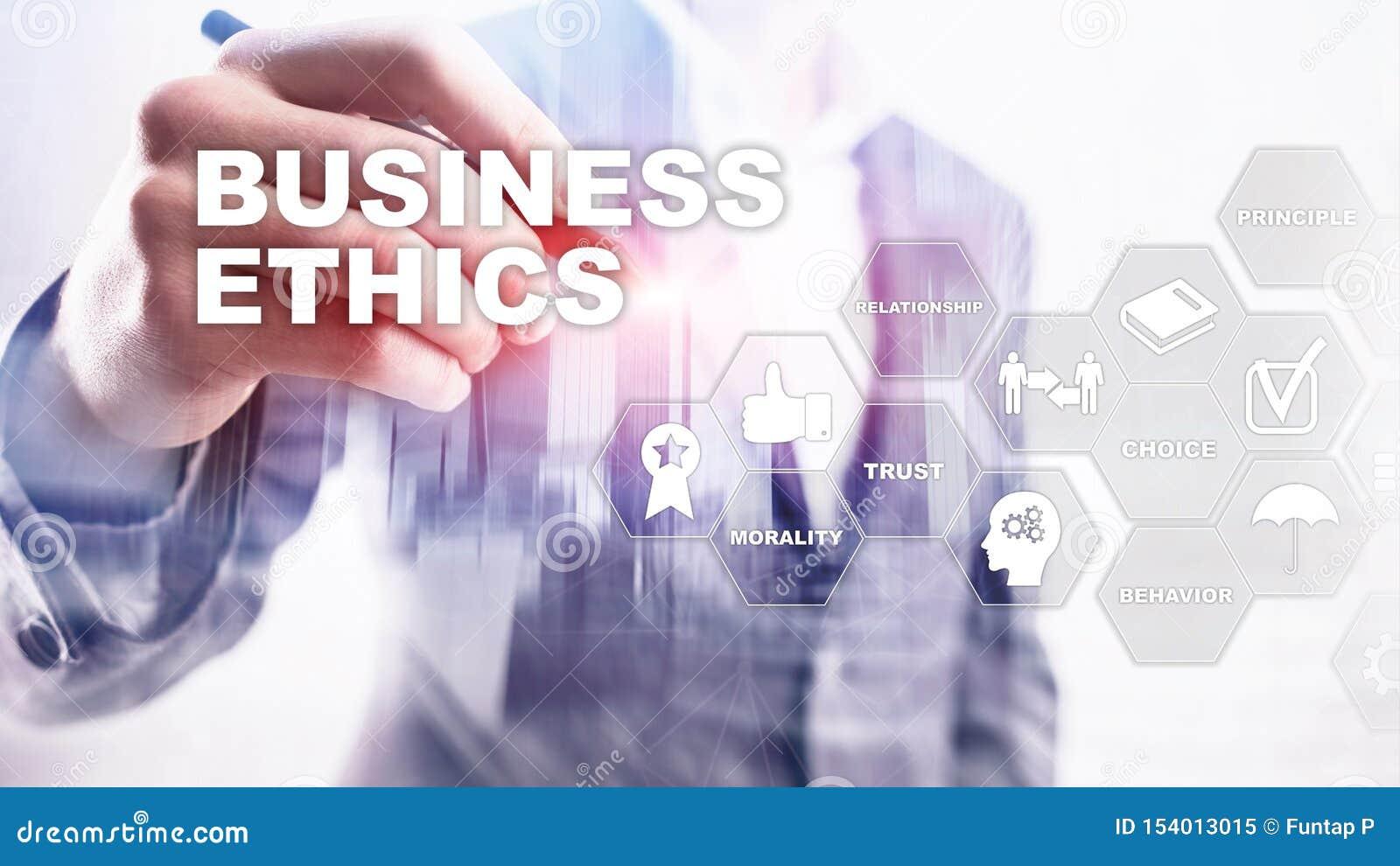 Business Ethnics Philosophy Responsibility Honesty Concept. Mixed media background