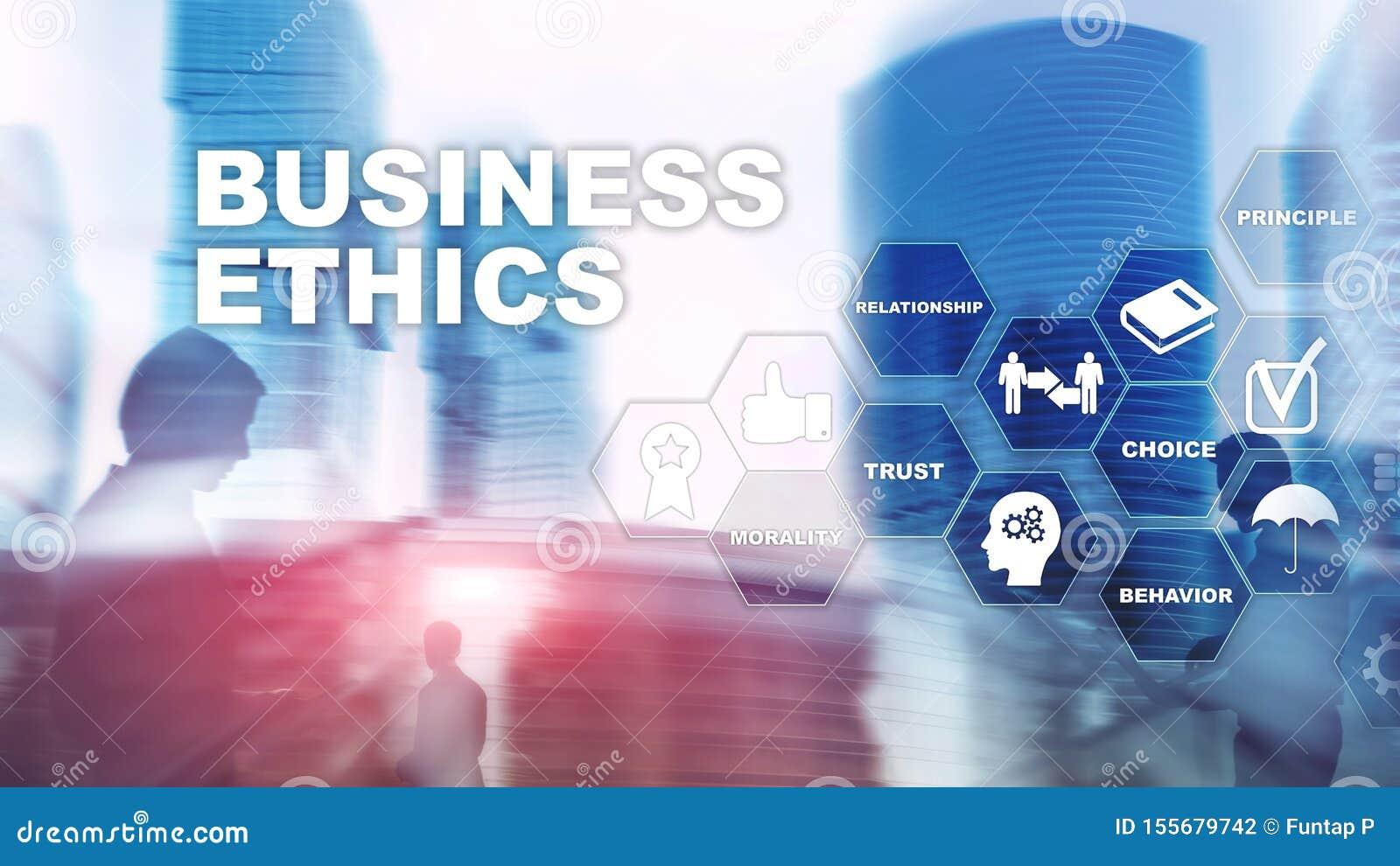 Business Ethnics Philosophy Responsibility Honesty Concept. Mixed media background.