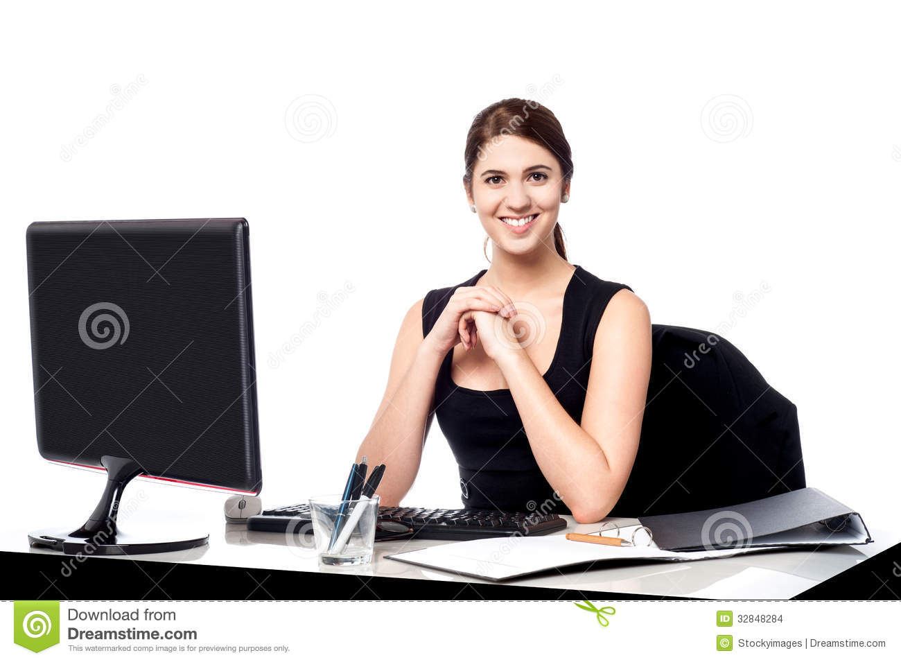 Business Executive At Her Work Desk Stock Images Image