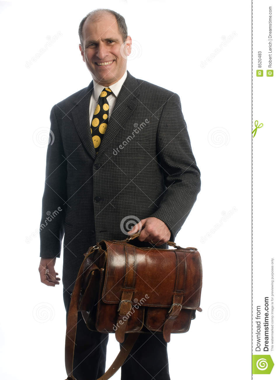 Business executive leather attache travel bag