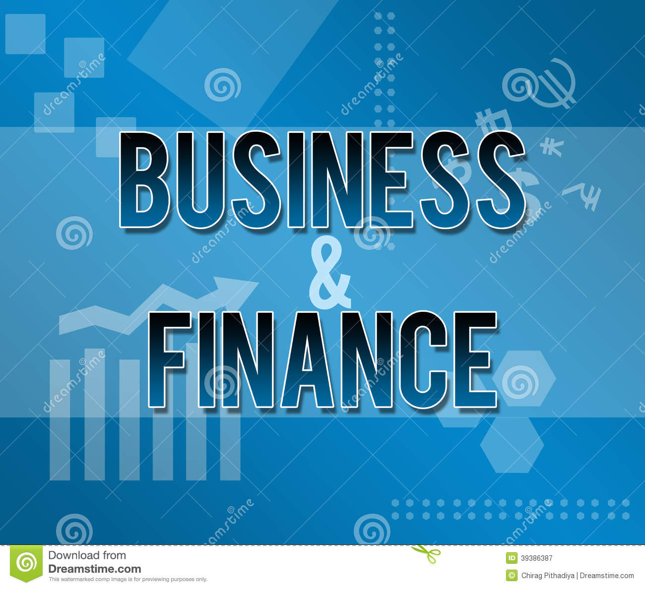 Finance: Business And Finance Blue Themed Background Stock Image
