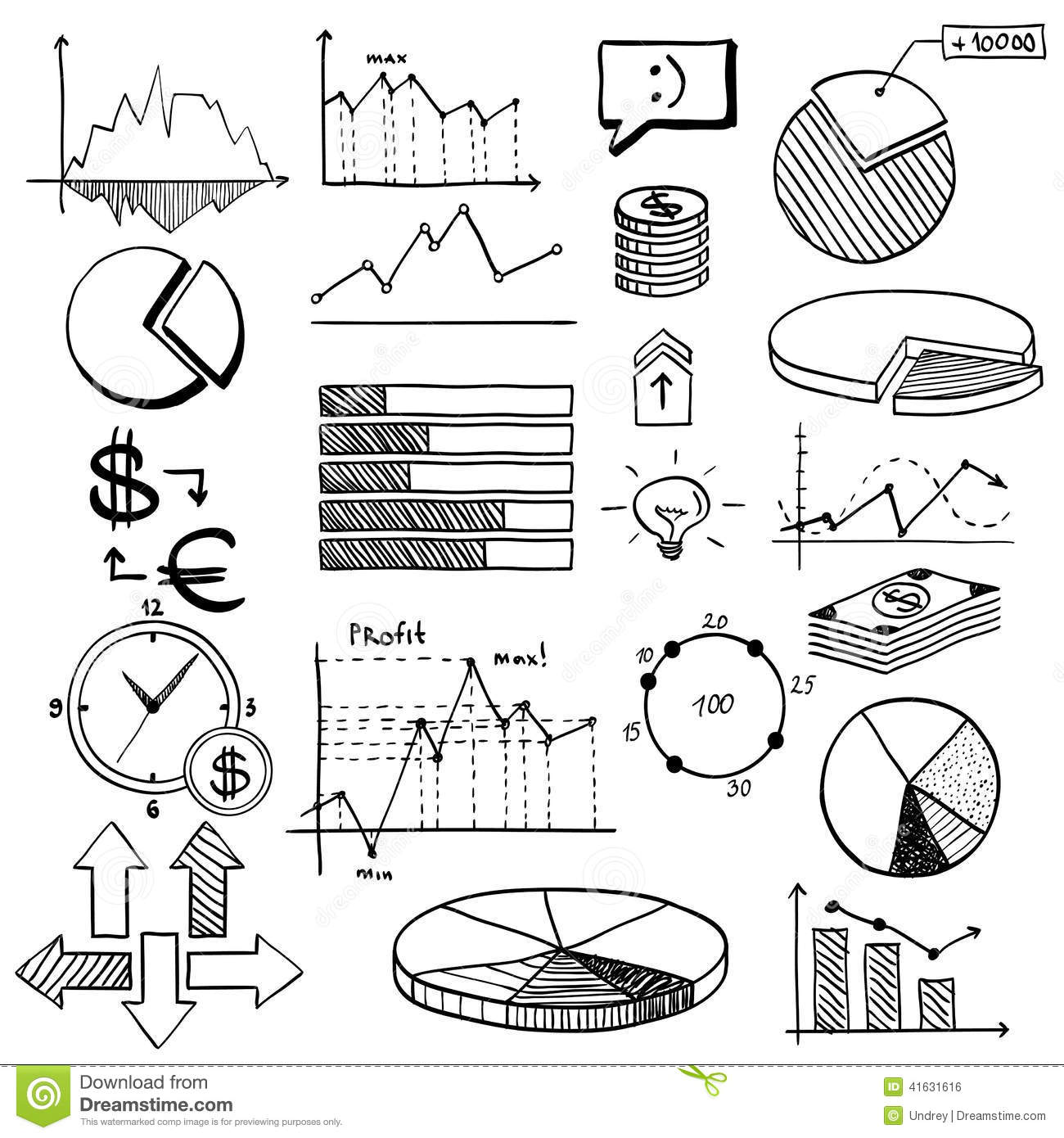 business finance doodle hand drawn elements with stock vector