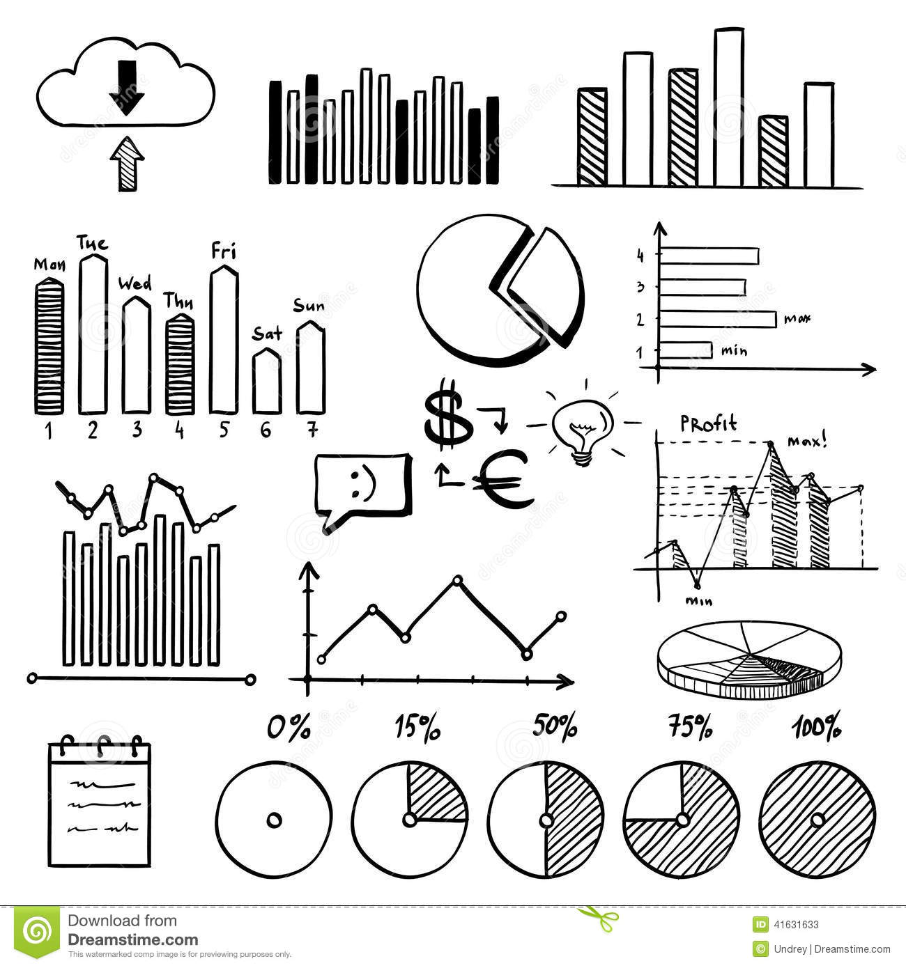 business finance doodle hand drawn elements stock