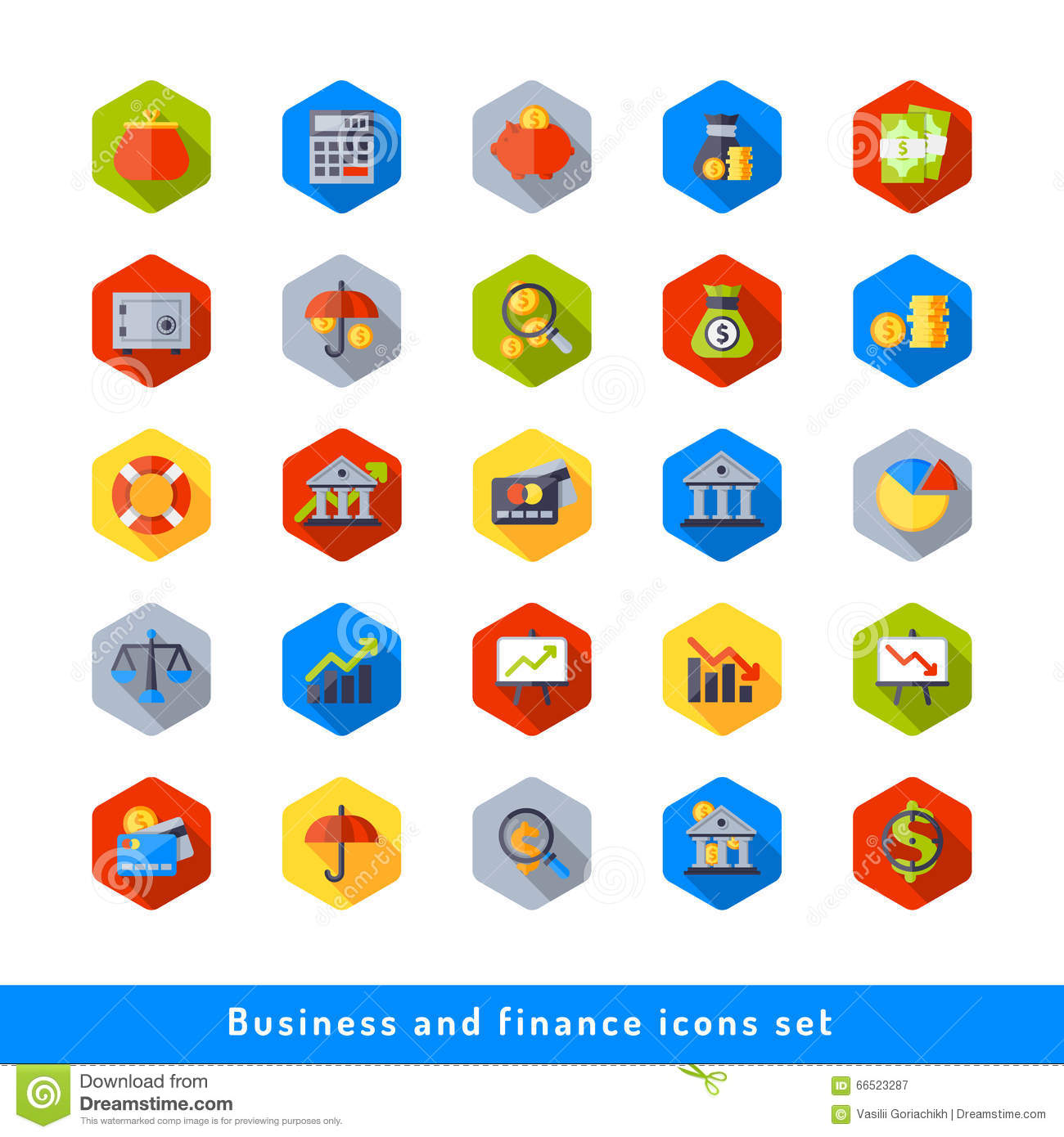 Finance Icon Set: Business And Finance Icon Set In Flat Stock Illustration
