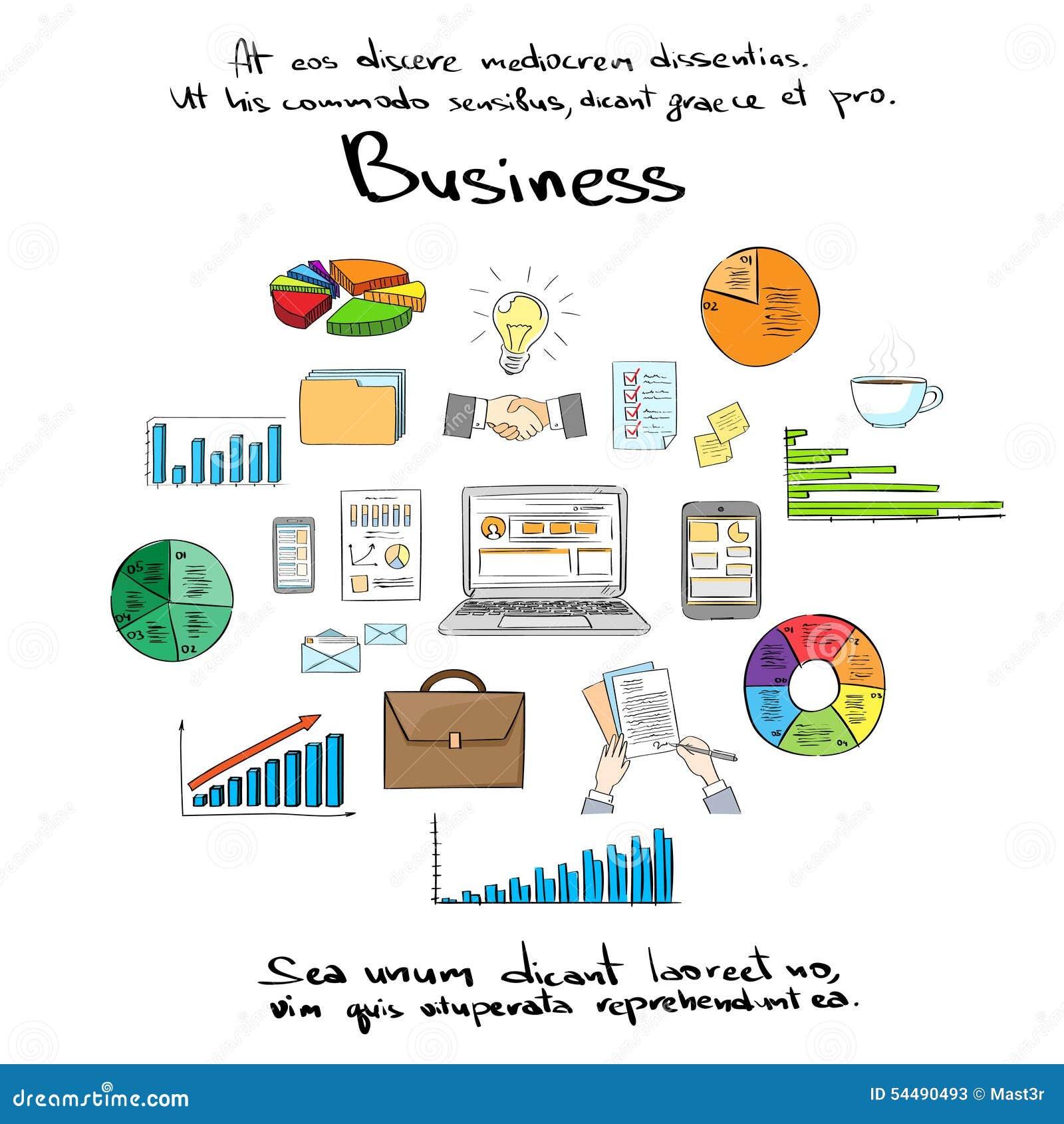 Finance Logo: Business Finance Logo Hand Draw Icon Set Stock Vector