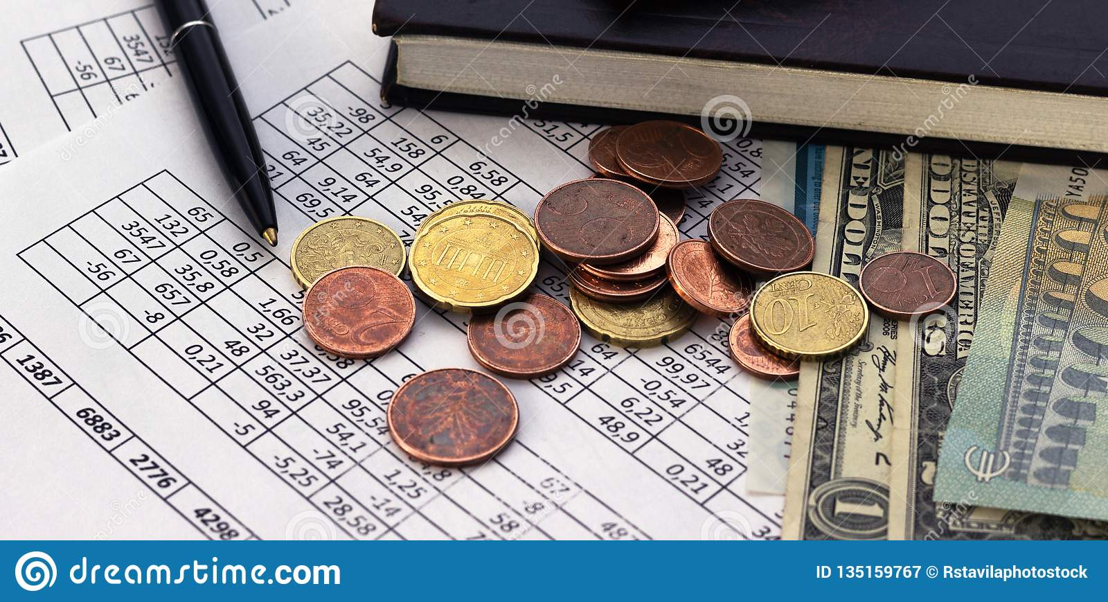 Business finance saving planning account concept. accounting, business calculations, cash counting.