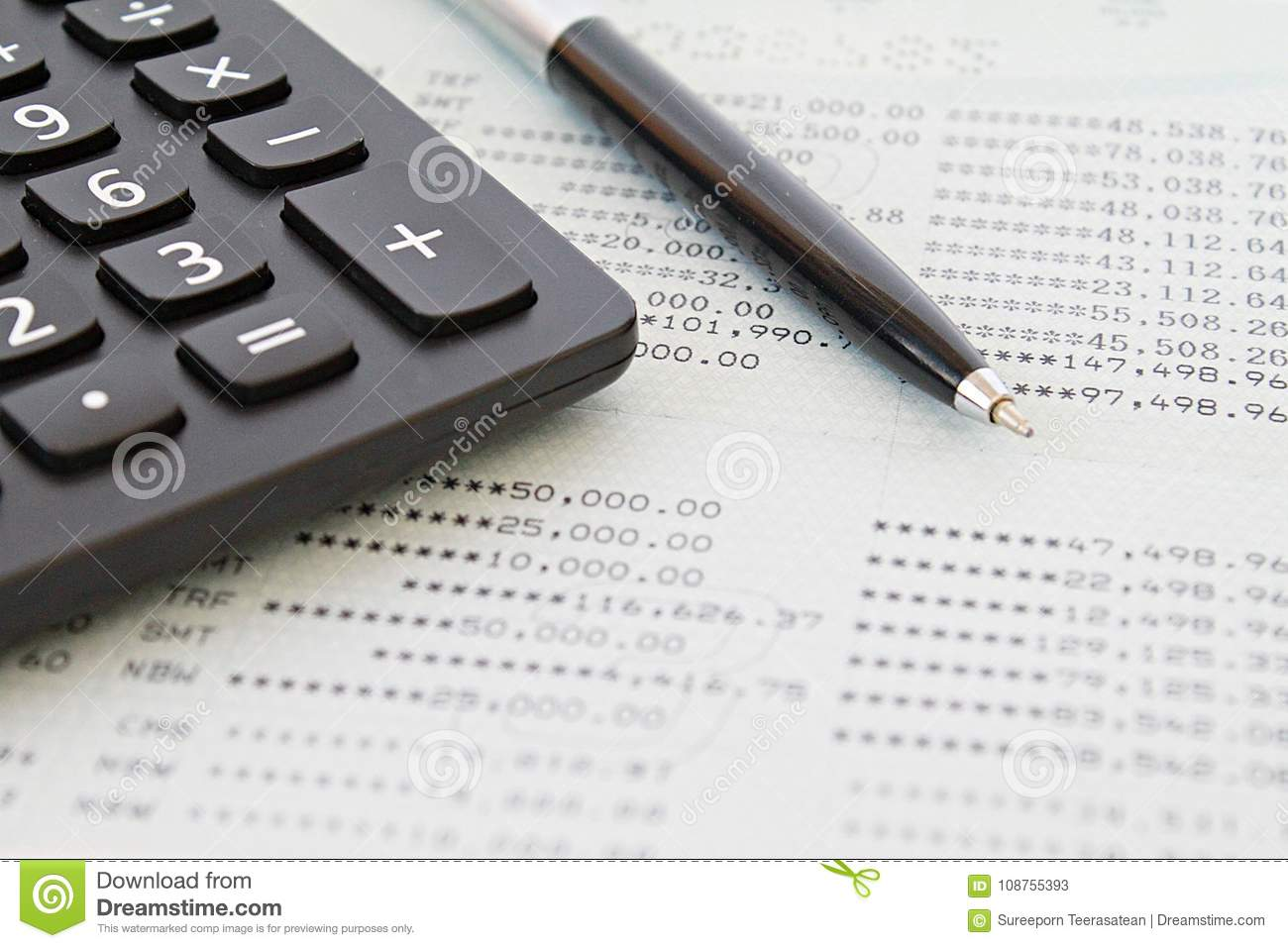 savings account passbook or financial statement and calculator on