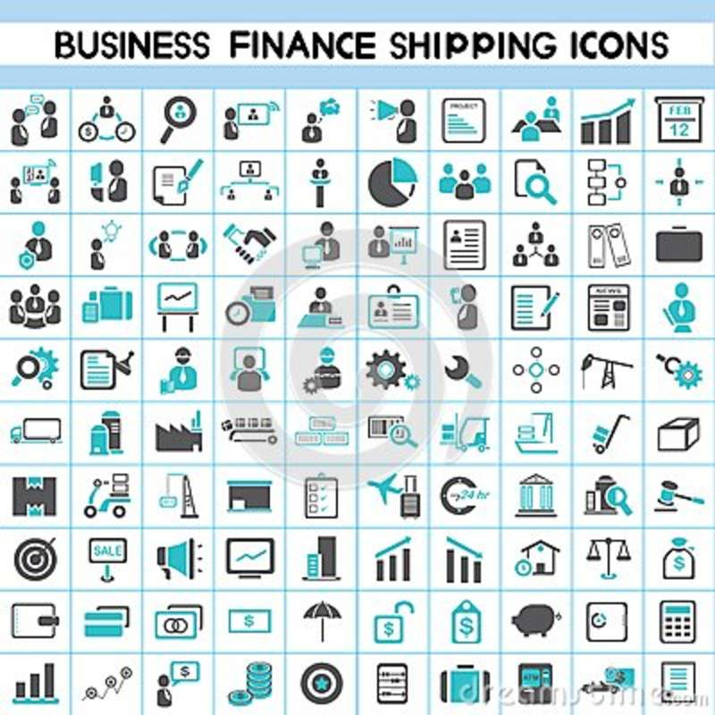 Business Finance: Business, Finance, Shipping And Office Icons Stock Photos