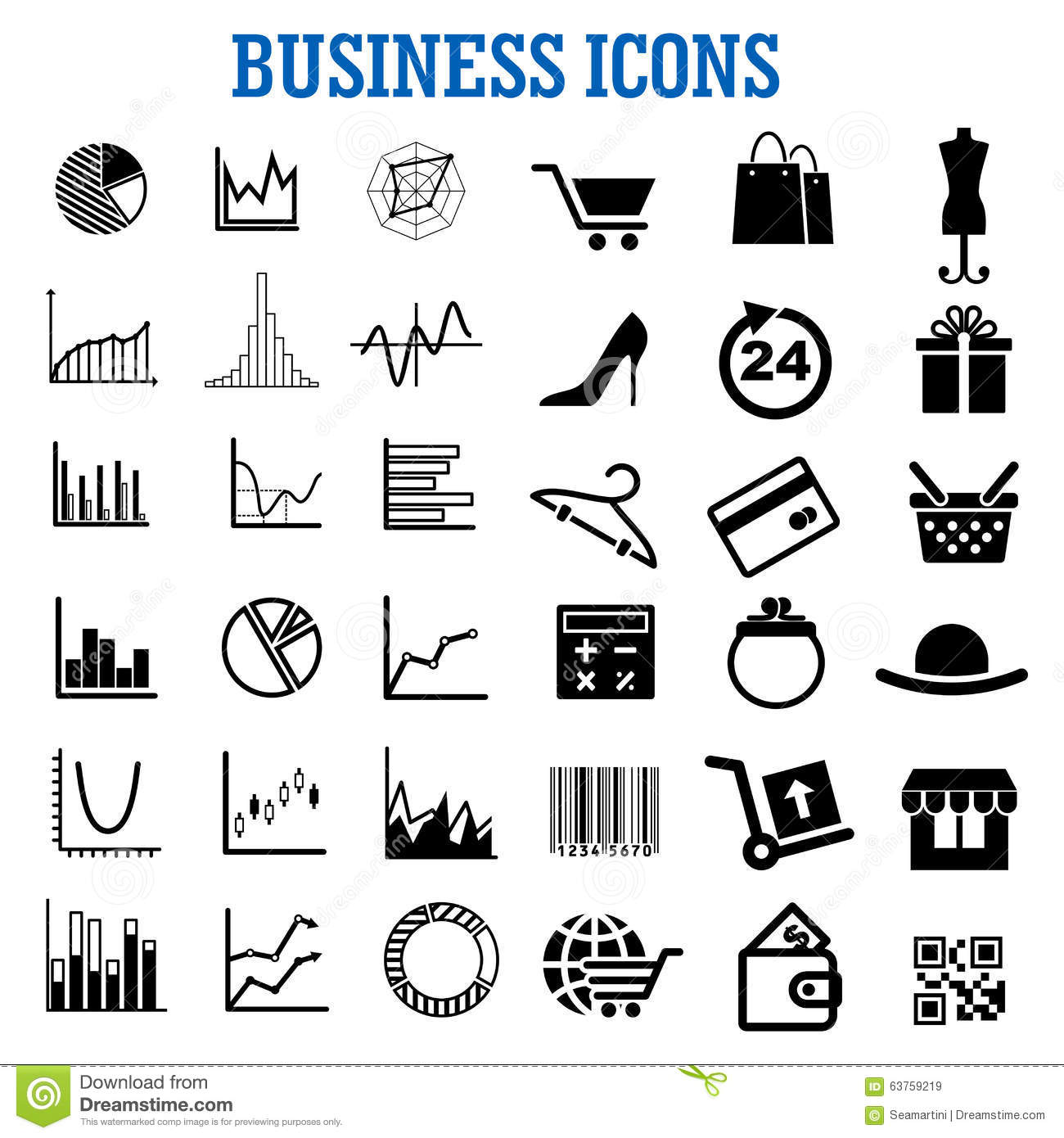 Business Finance: Business, Finance, Shopping And Retail Flat Icons Stock