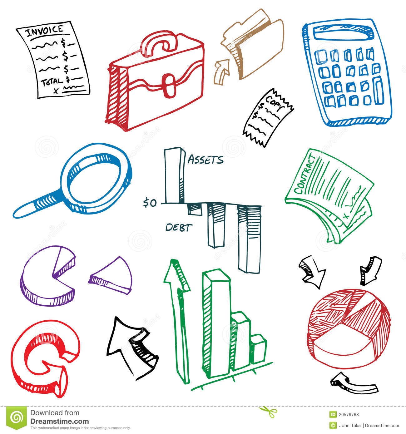 Business Financial Accounting Drawing Set Stock Vector