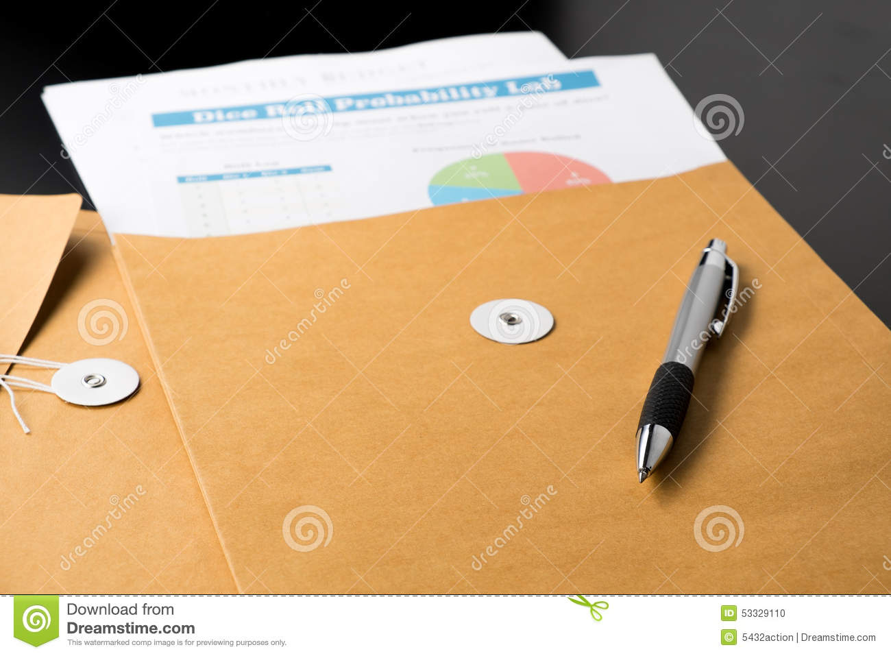 business and financial report in envelope pen document is mock up