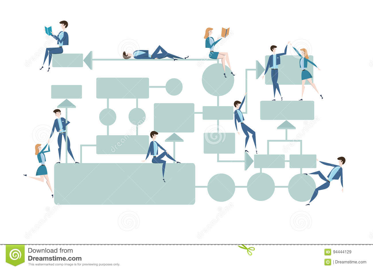 Business flowchart process management diagram with businessmans business flowchart process management diagram with businessmans and businesswomans characters vector illustration on pooptronica Image collections