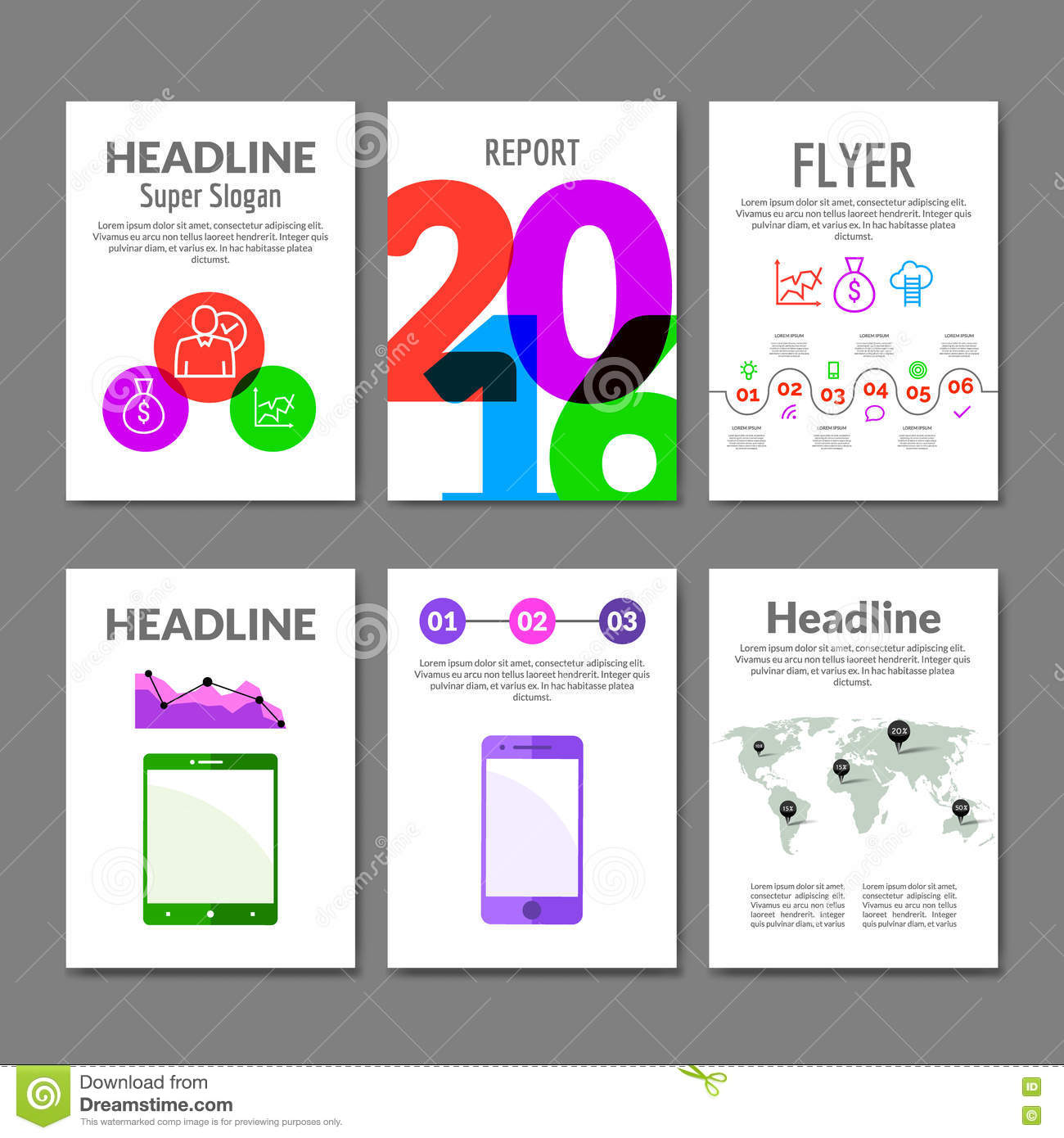 business flyer set brochure with infographics modern colorful