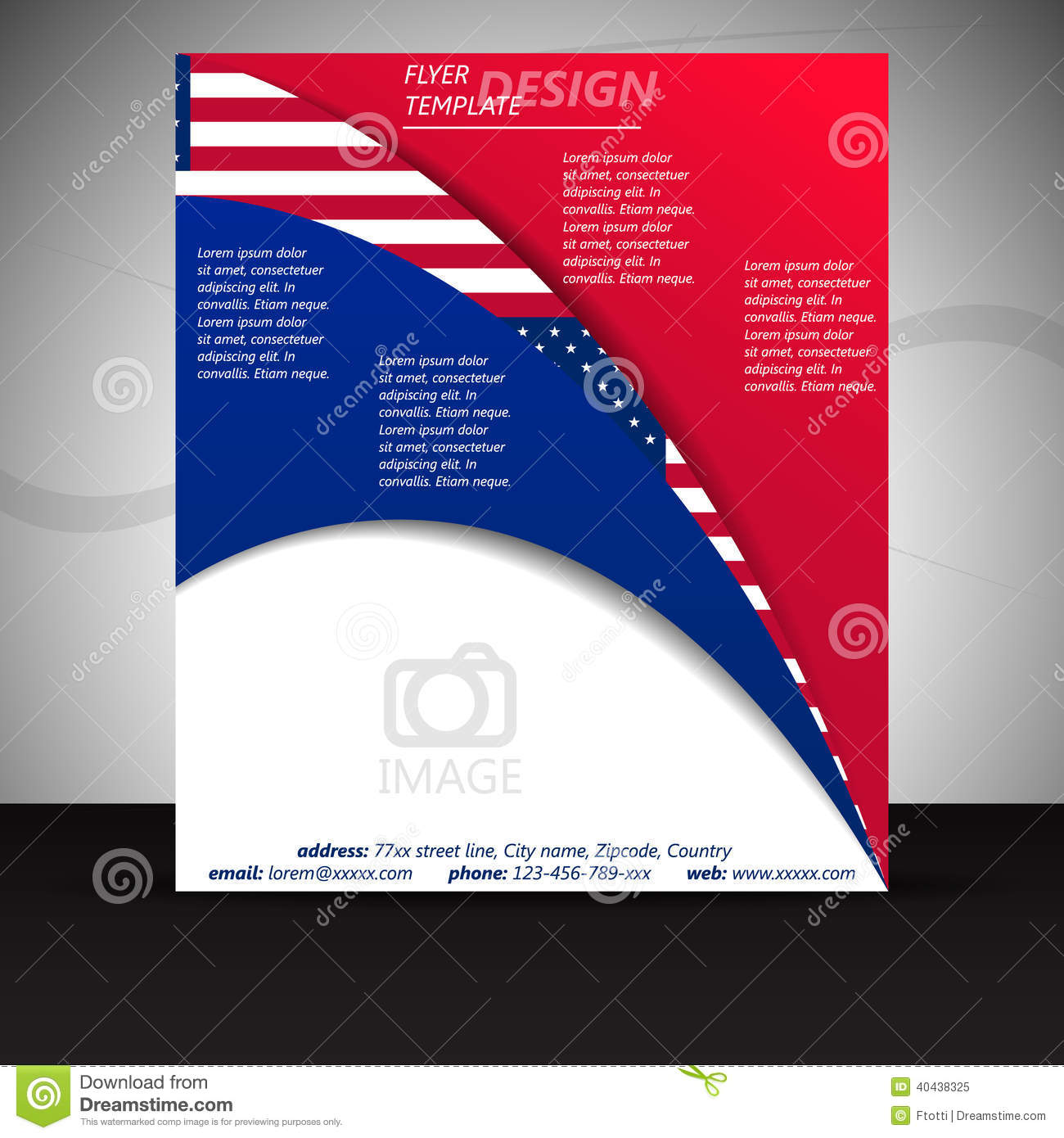 business flyer template or corporate banner with usa flag
