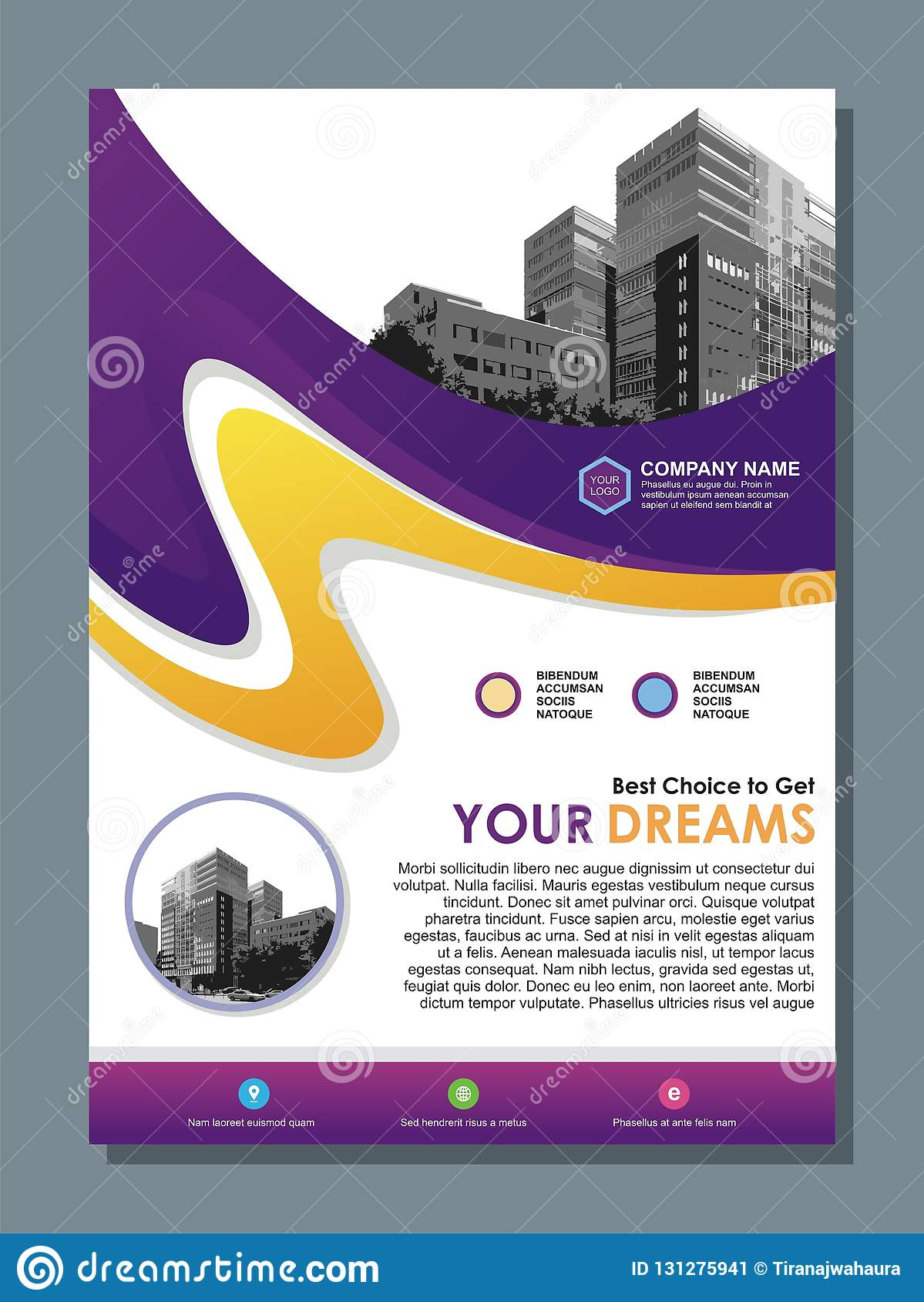 Business flyer template with Stylish purple and yellow wave design