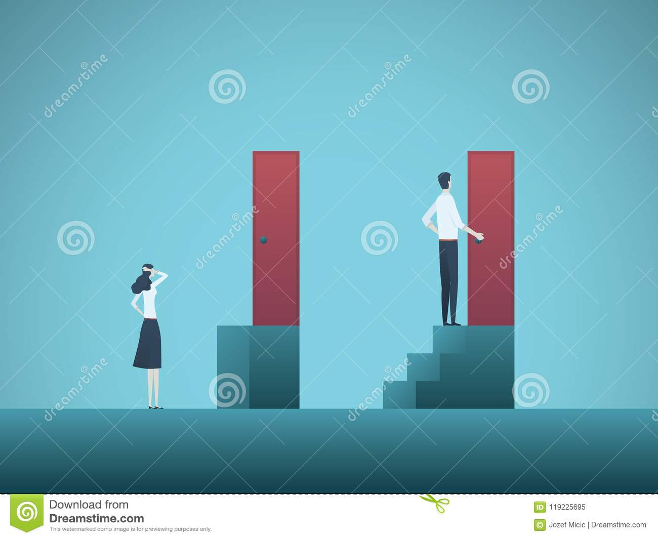 Business gender gap inequality vector concept. Symbol of discrimination in career, salary gap, corporate injustice and