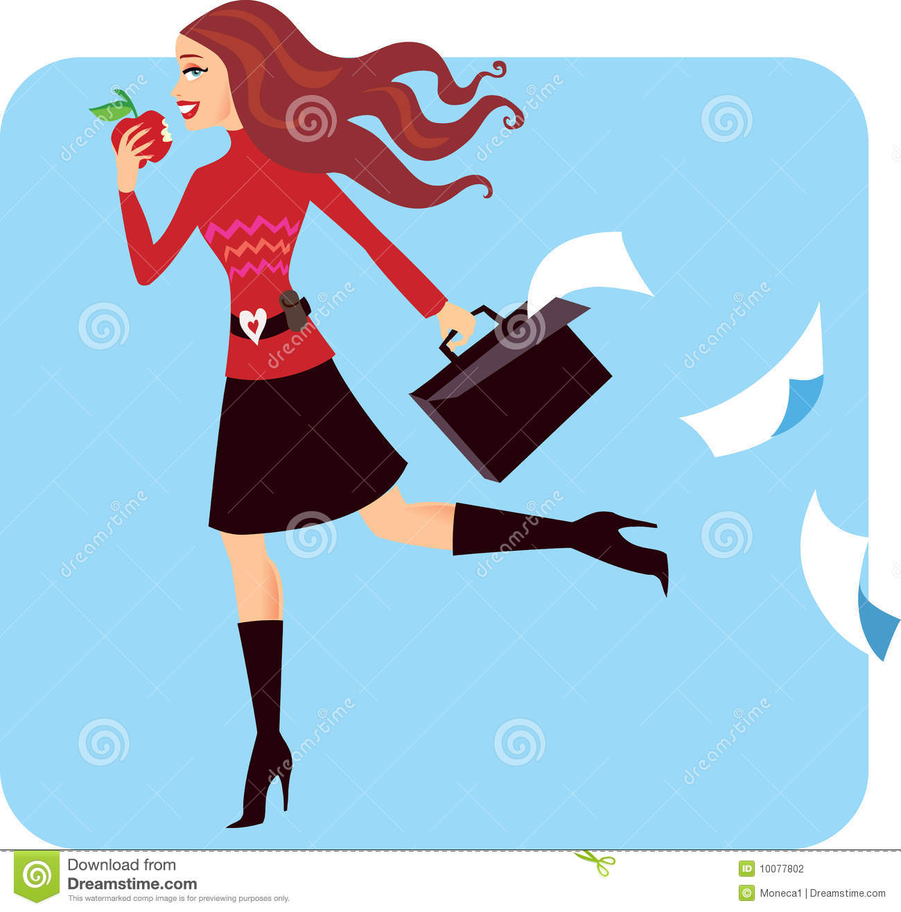 Cool Business Woman Multitasking And Running Late Stock Vector