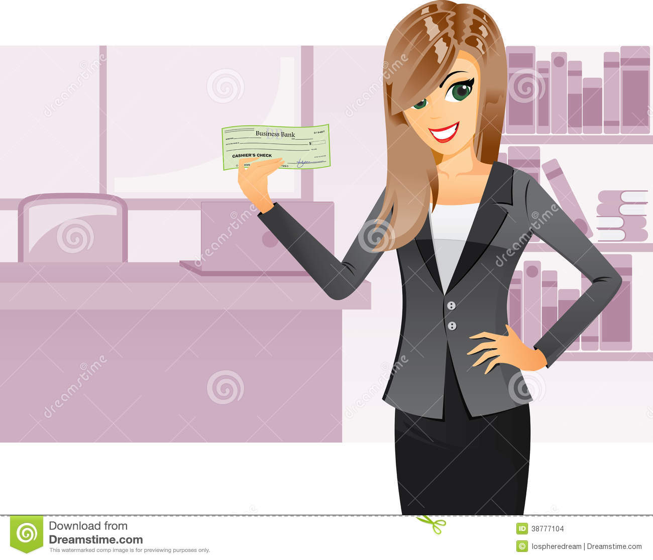 business girl holding cashier check stock vector image 38777104 business girl holding cashier check
