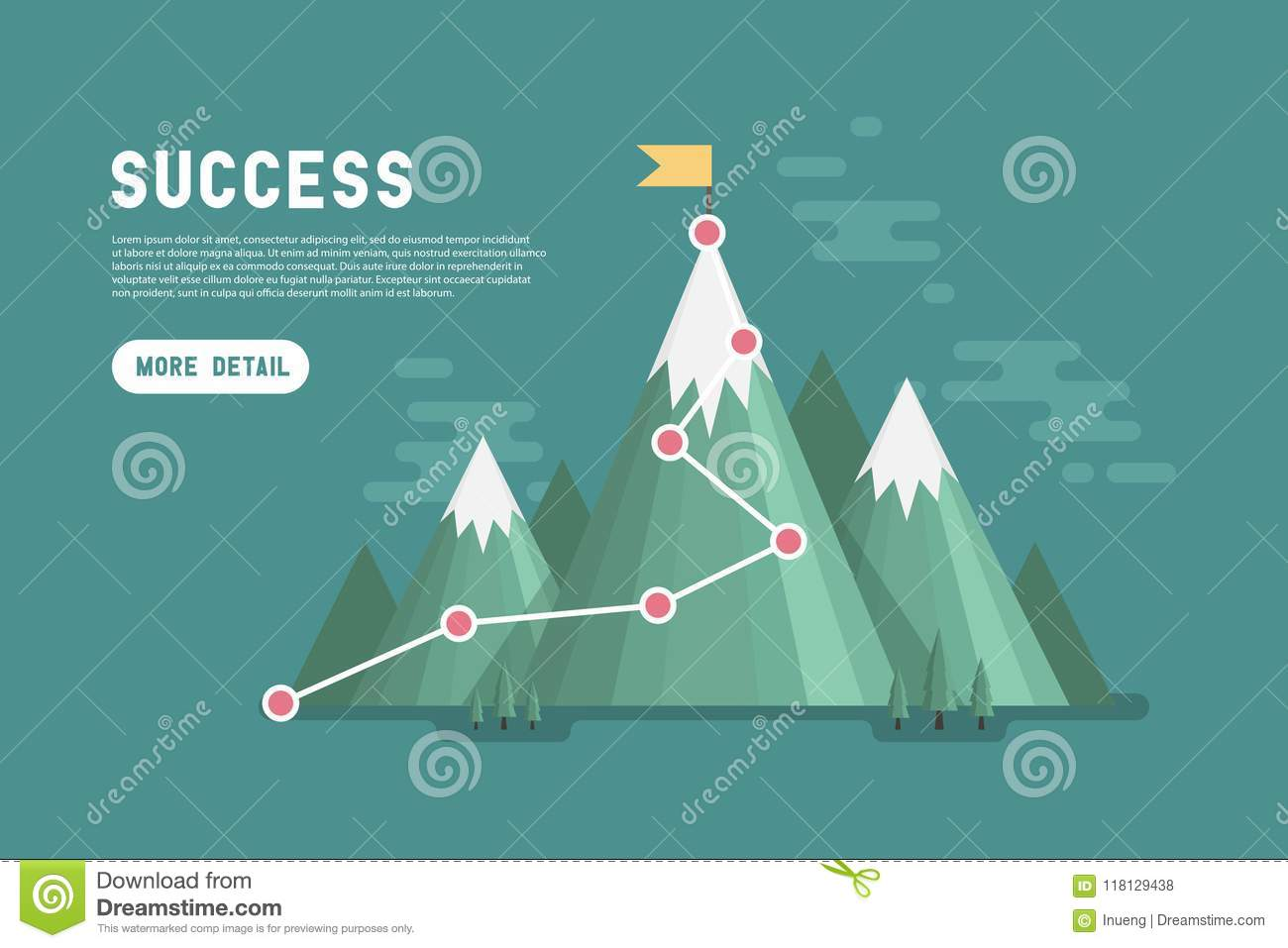 Business goal success concept infographic. Flag on the top of mountain.