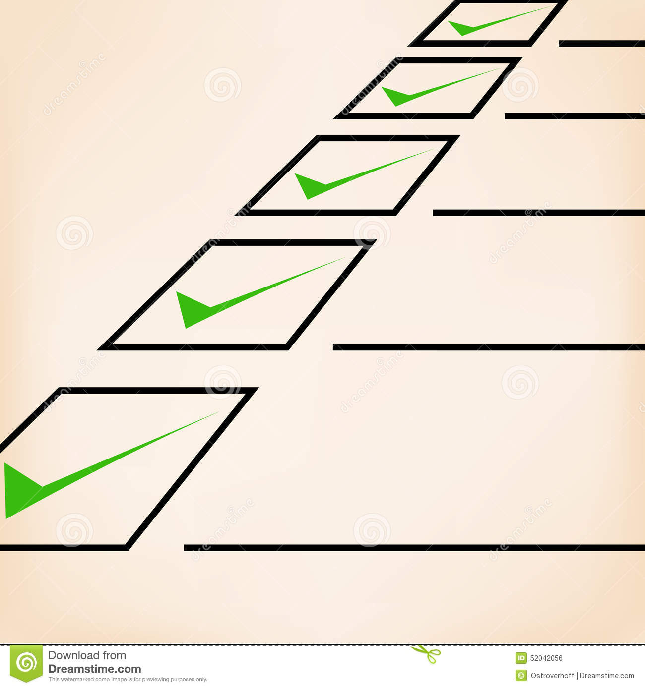 Business goals checklist with green markers, lines and unchecked ...