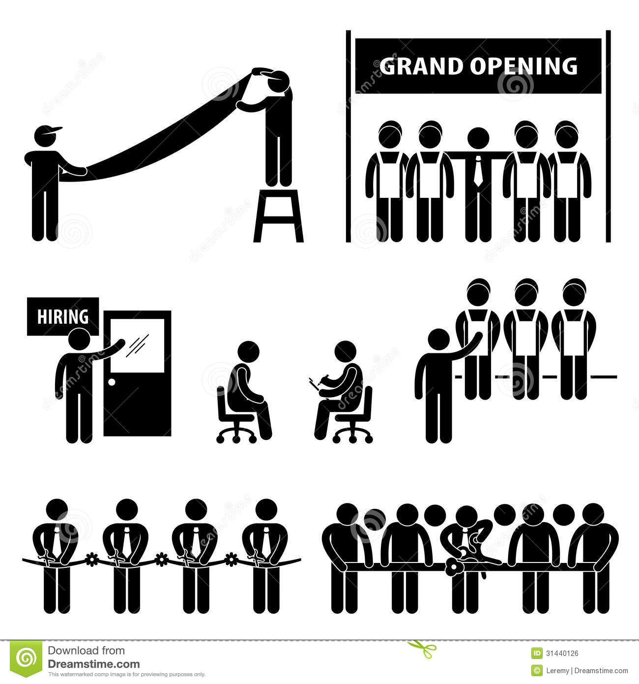 Business: Business Grand Opening Stick Figure Pictogram Royalty Free