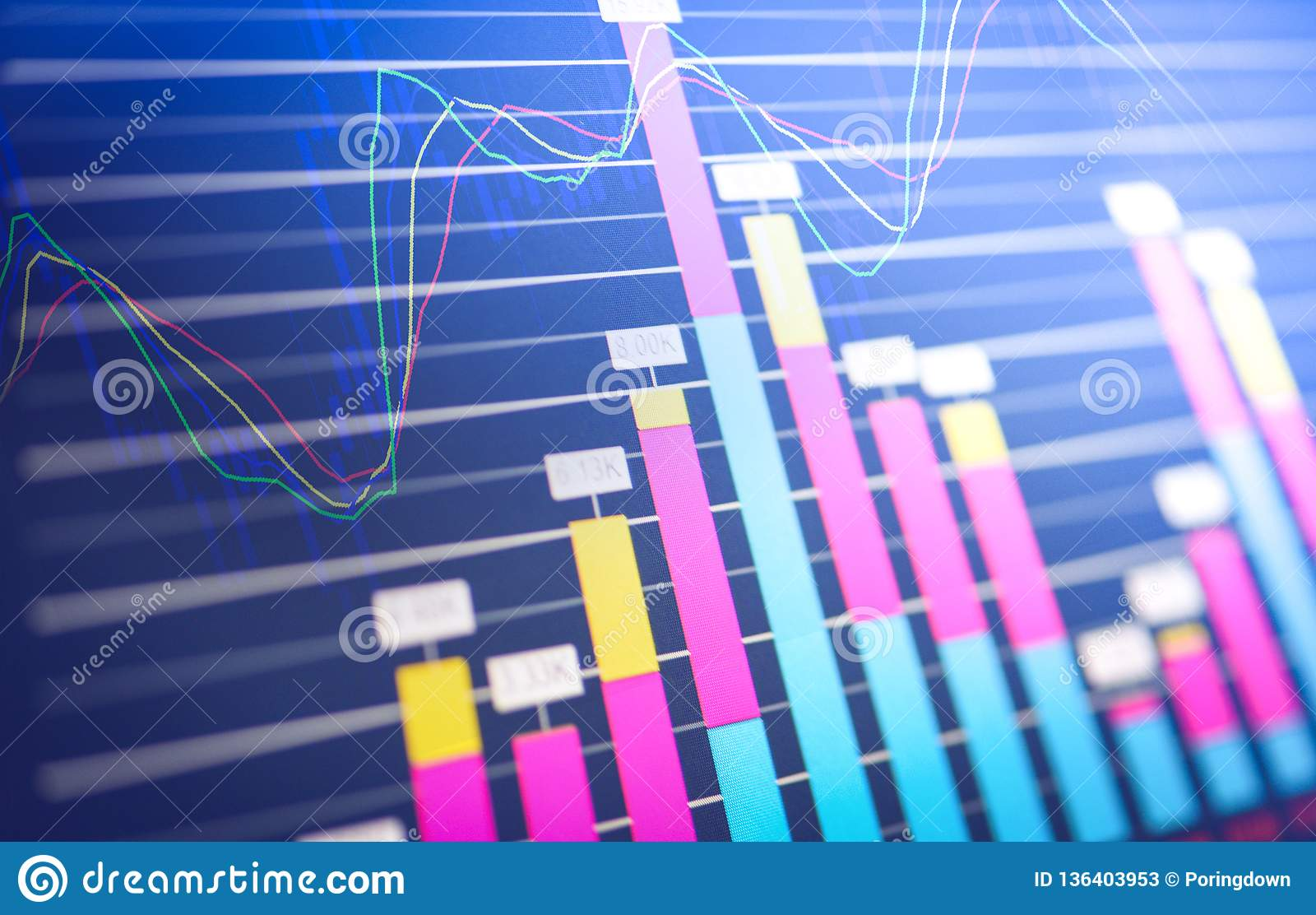 Business Graph Chart Of Stock Market Investment Trading Stock Market Report Chart Of Financial Board Display Stock Image Image Of Report Digital 136403953